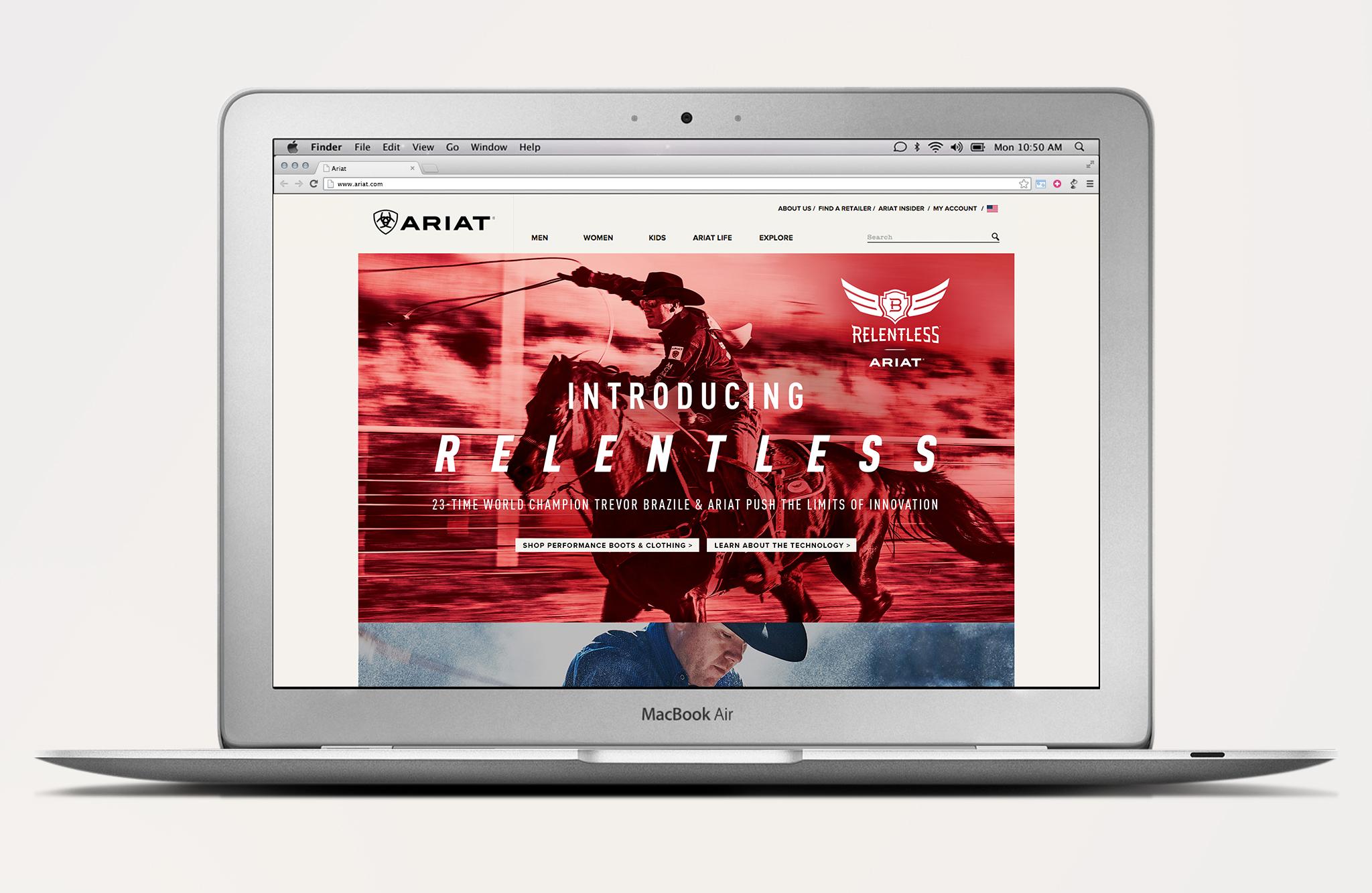 Ariat Relentless homepage displaced on laptop