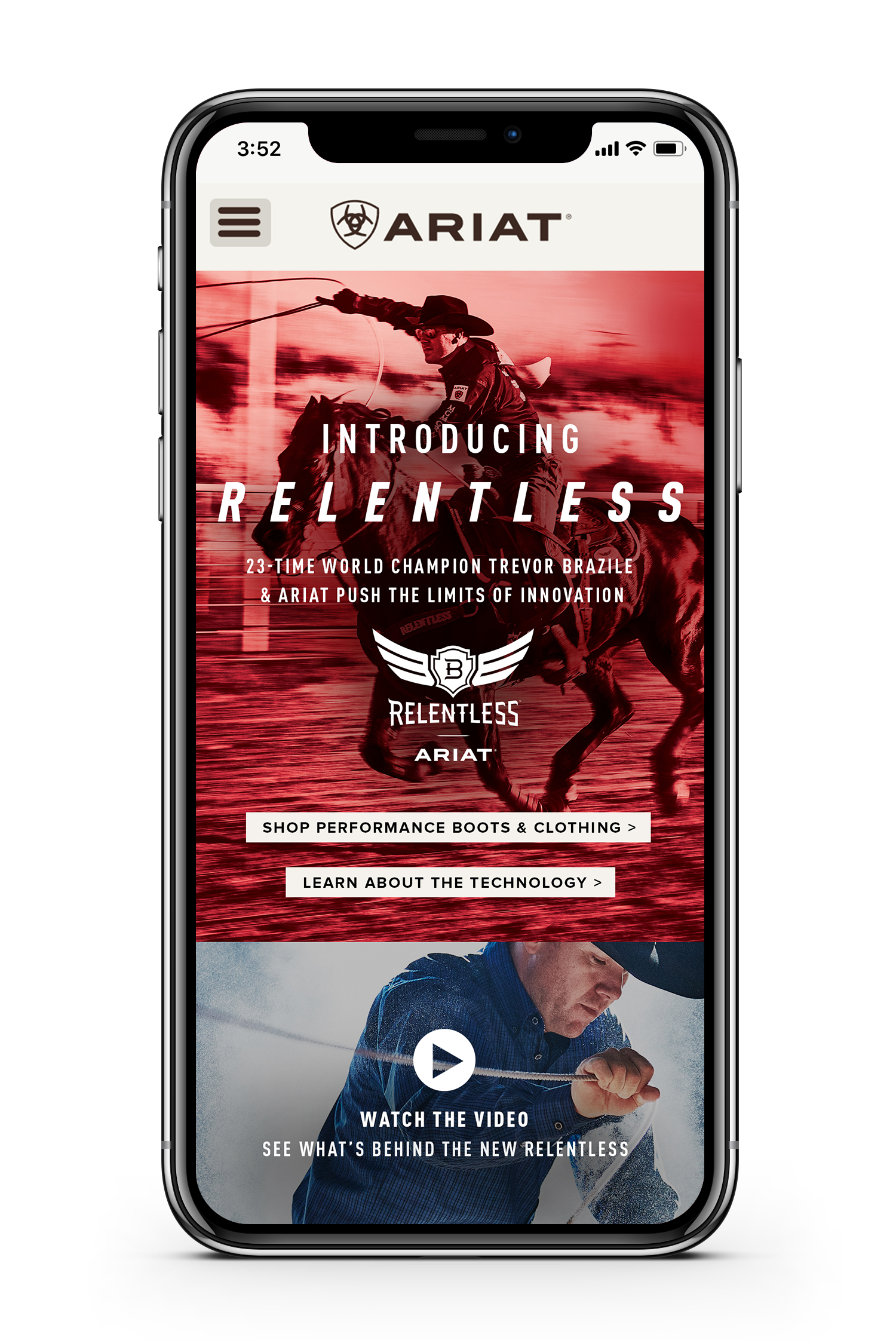 Ariat landing page for relentless displayed on smartphone