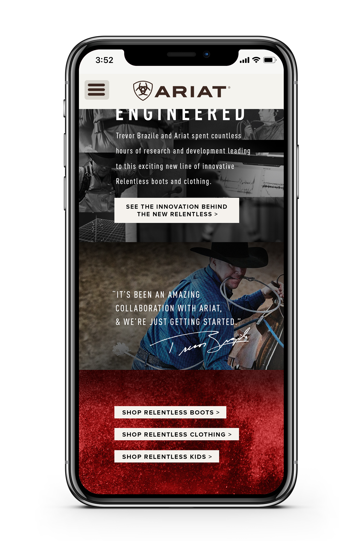 Ariat information page for relentless displayed on smartphone