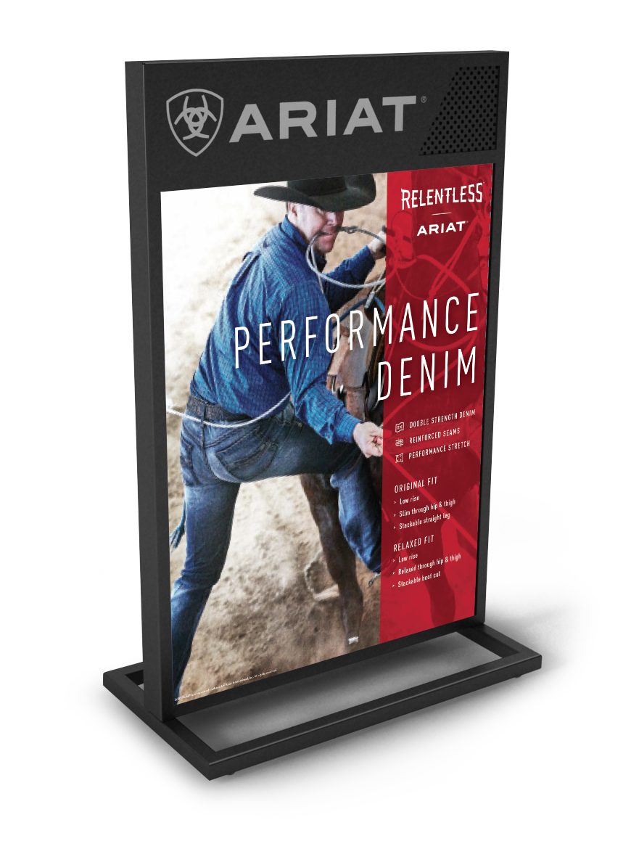 Digital render of Ariat standing advertisement for performance denim