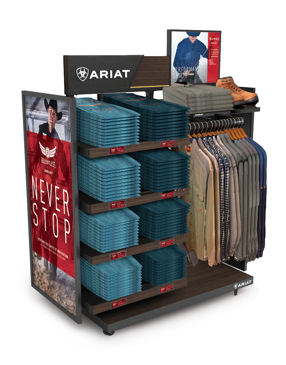 A digital render of a product shelf with carious Ariat relentless advertisements and clothes