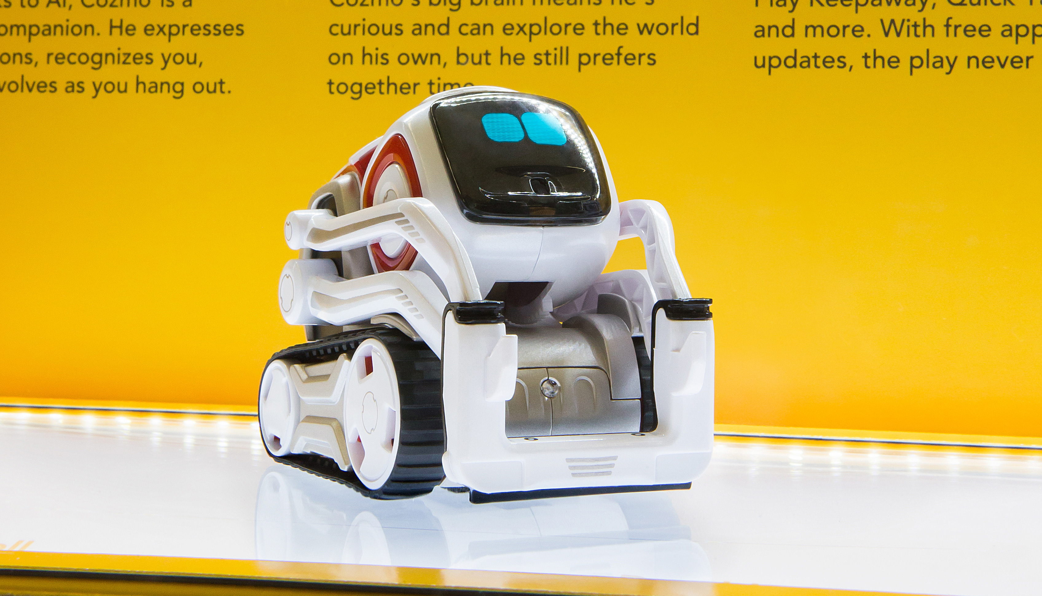 Cozmo the small AI robot on product display with animated face