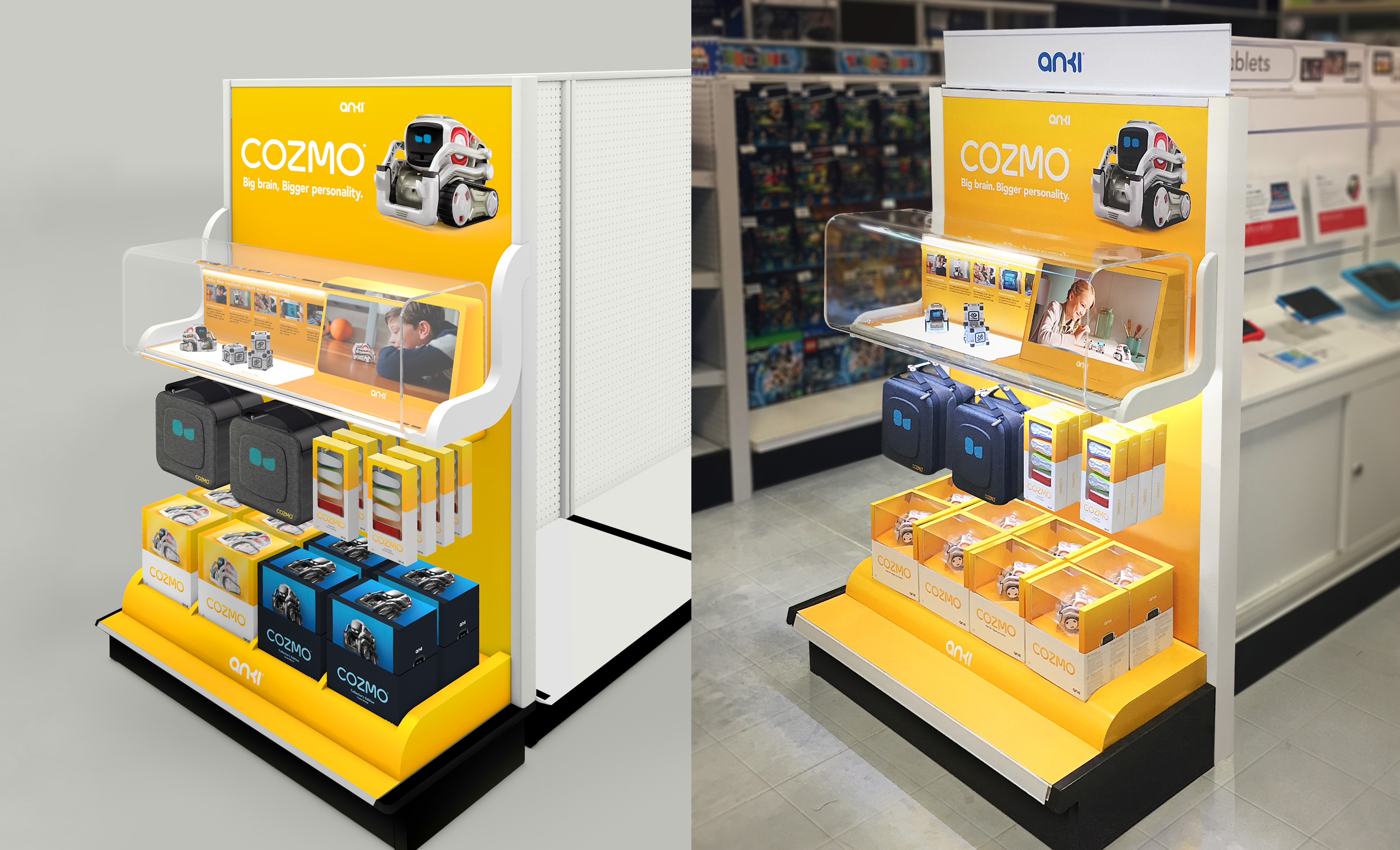 Cozmo the small AI robot on product display in store setting  with related cozmo related products