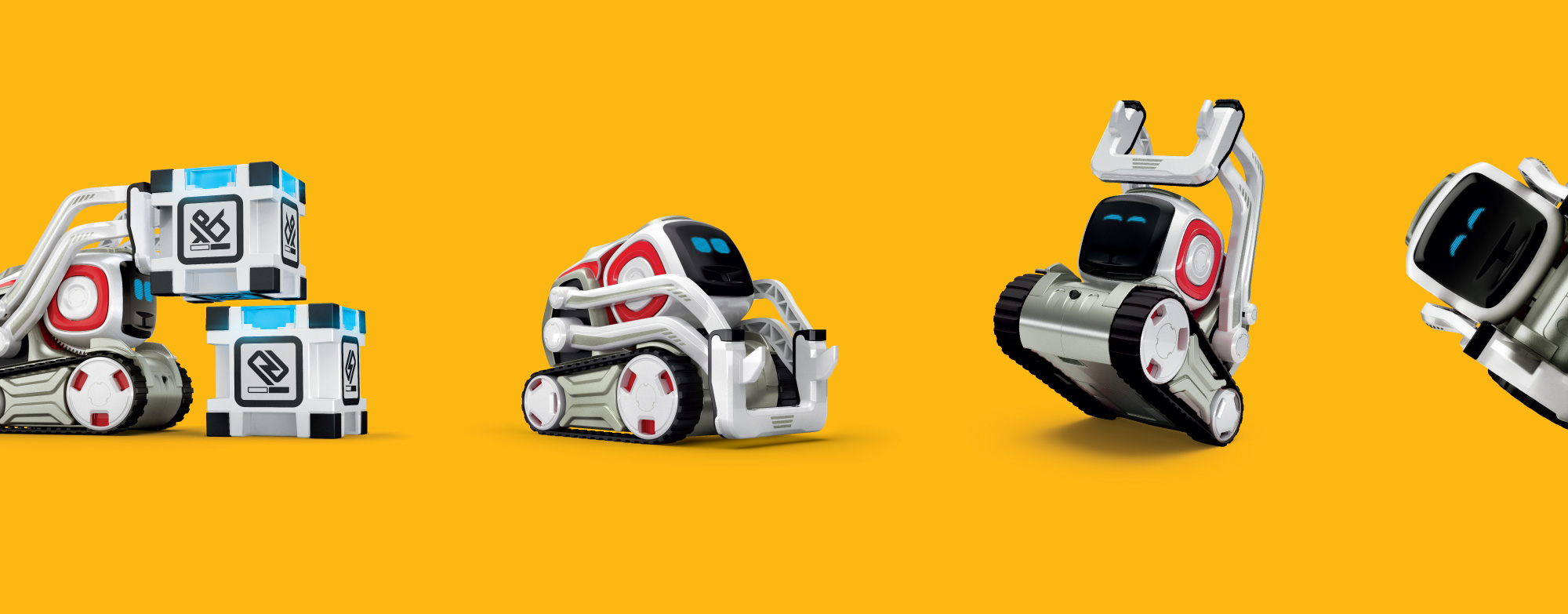 Digital product rengers of Anki Cozmo AI robot performing different tricks and emotions
