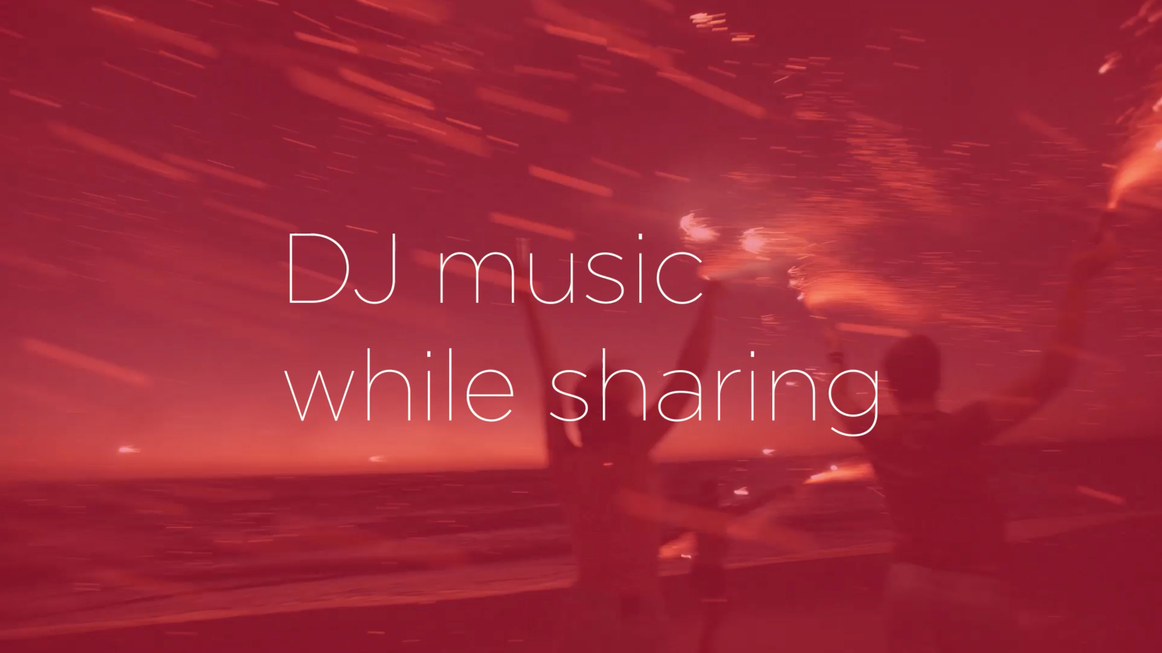 """Friends hanging out on a beach with type imposed over image saying """"DJ music while sharing"""""""