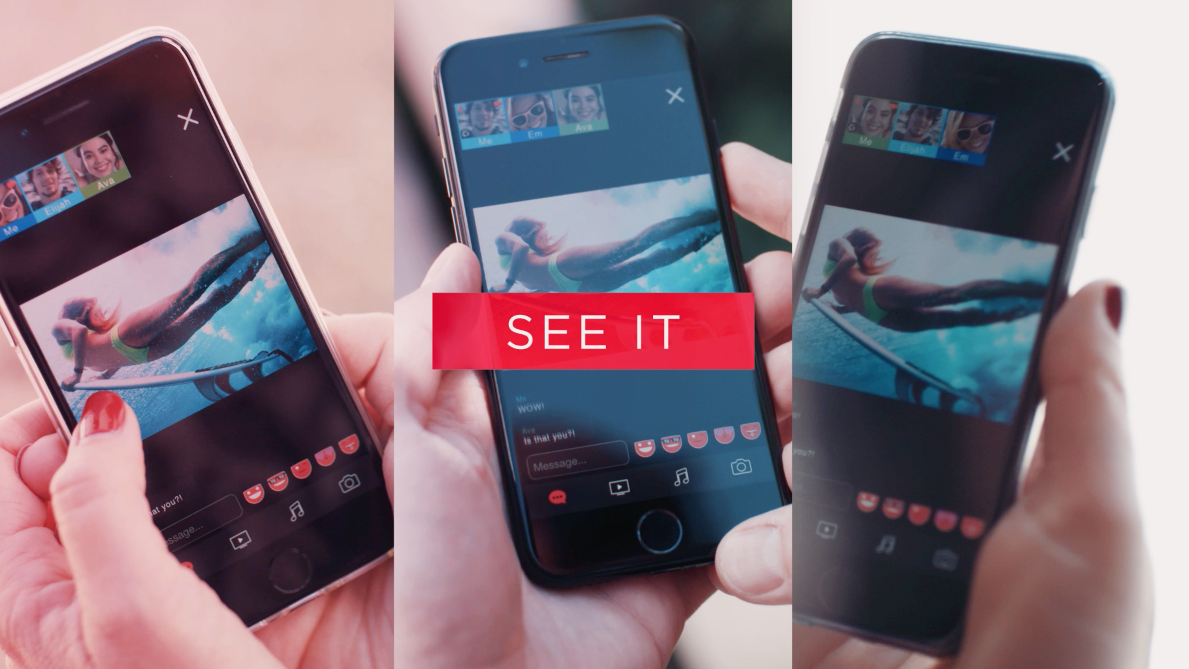Dabkick video stills, people using application on smartphone