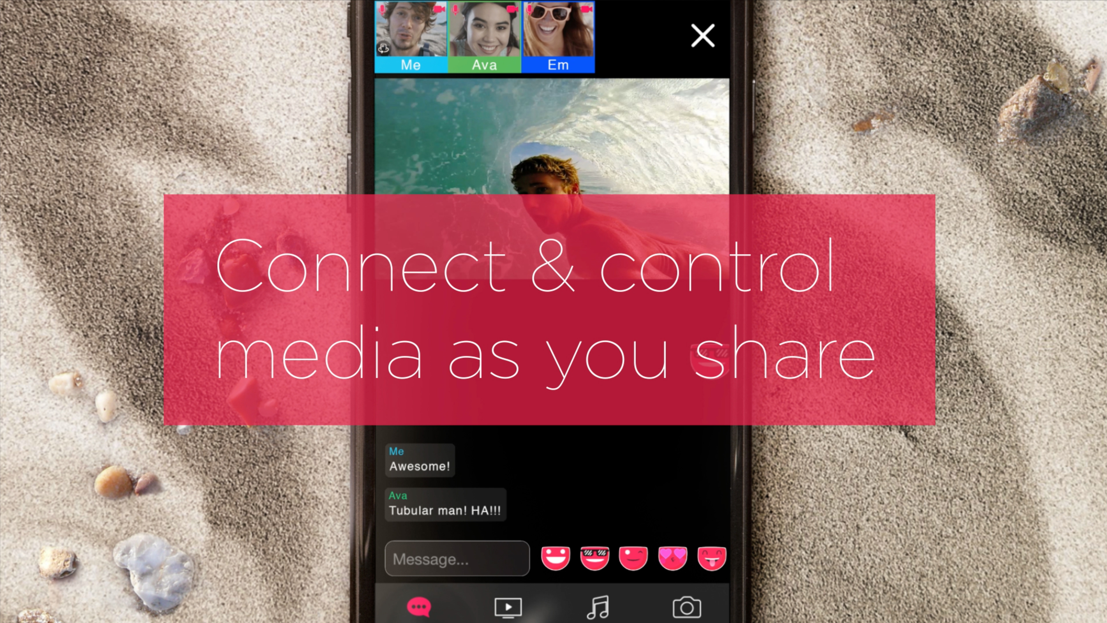 """Smartphone using Dabkick application with typography that says """"Connect & control media as you share"""" imposed over smartphone"""
