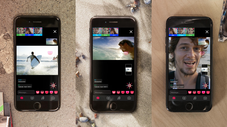 3 stills of smartphones all using the Dabkick application