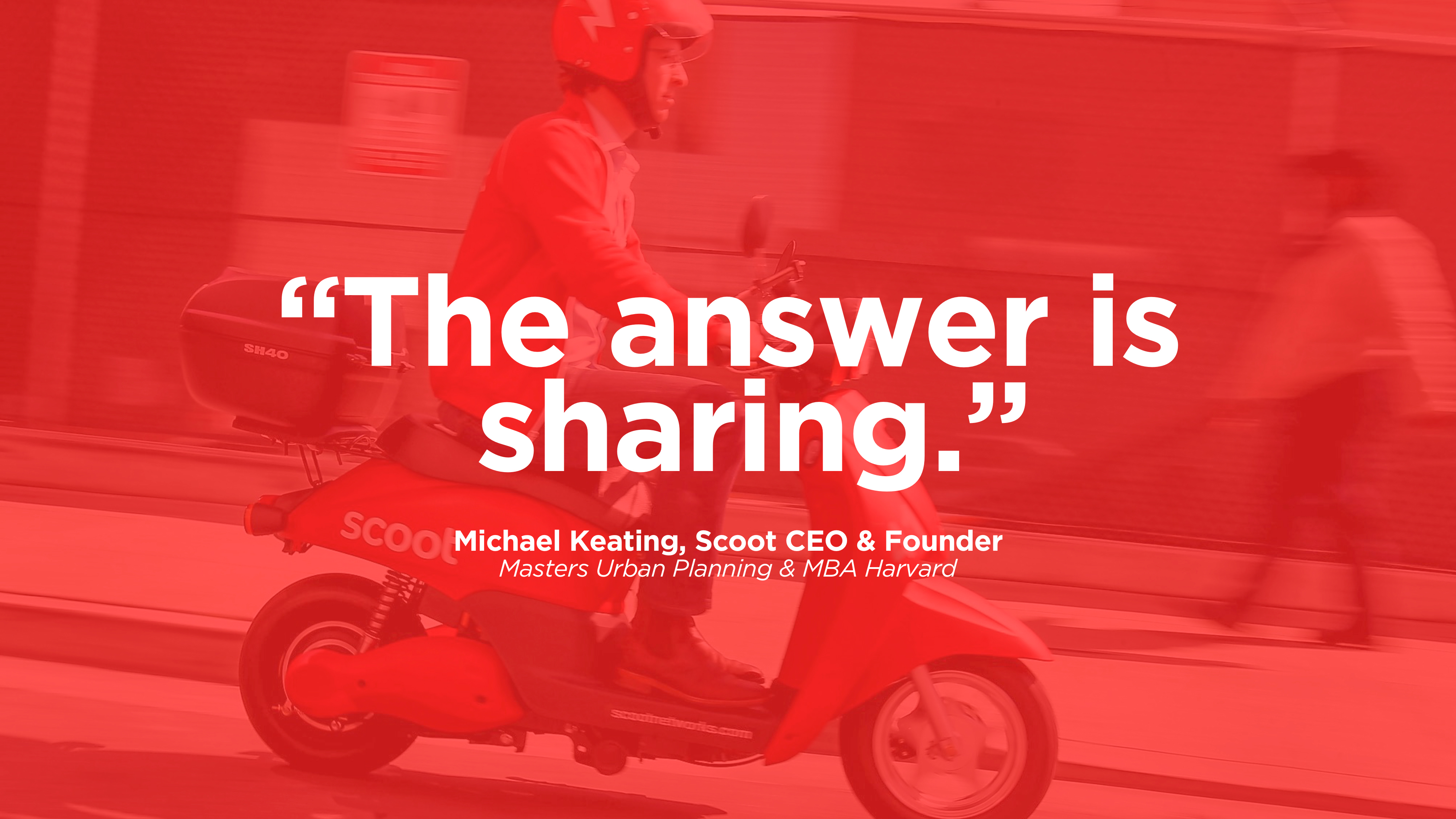 """Person riding a scooter and a caption imposed above it stating """"the answer is sharing"""""""
