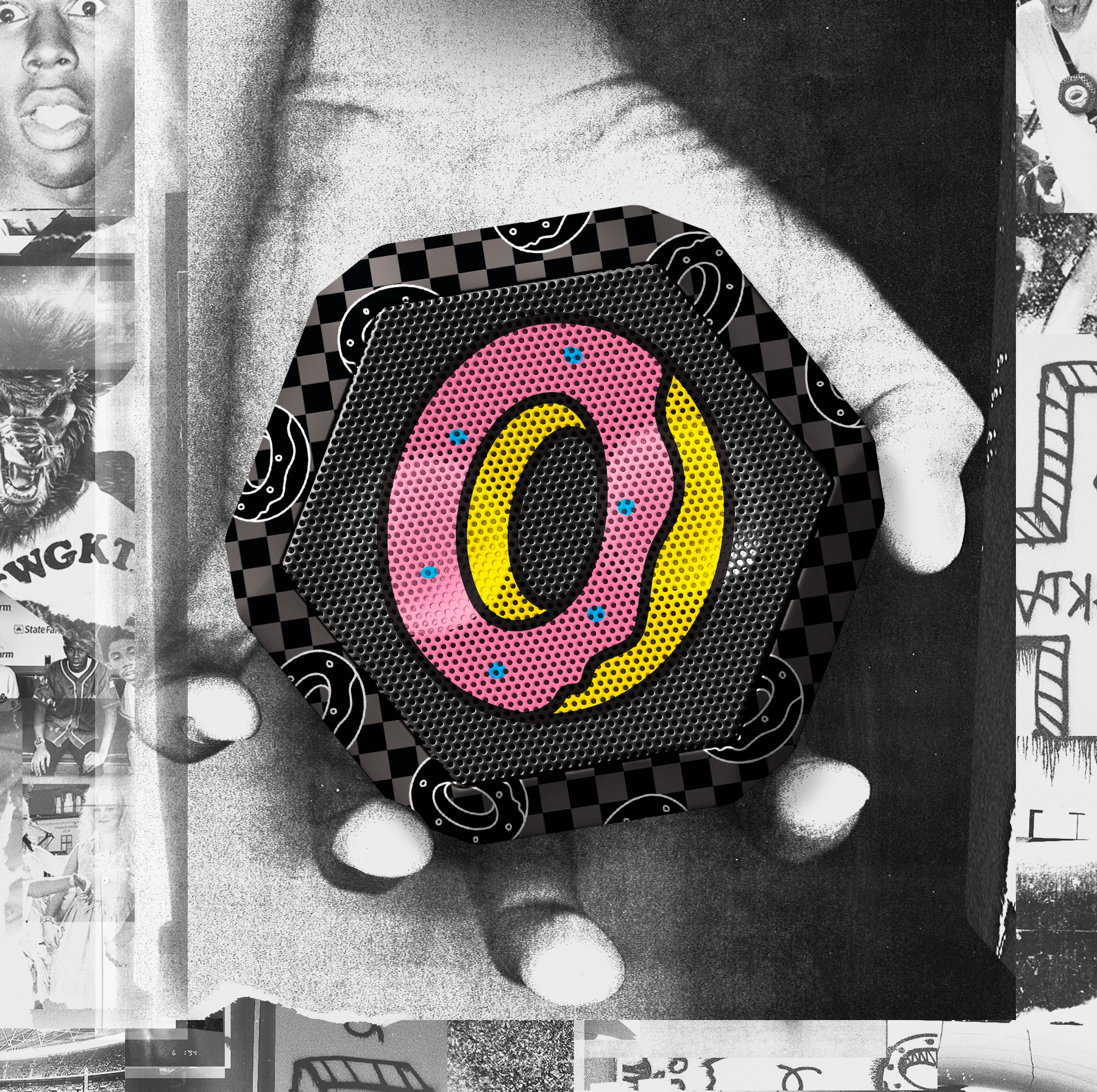 Boombotix oddfuture speaker collaboration advertisement with donut and checkerboard graphics on speaker imposed in a black and white grainy hand