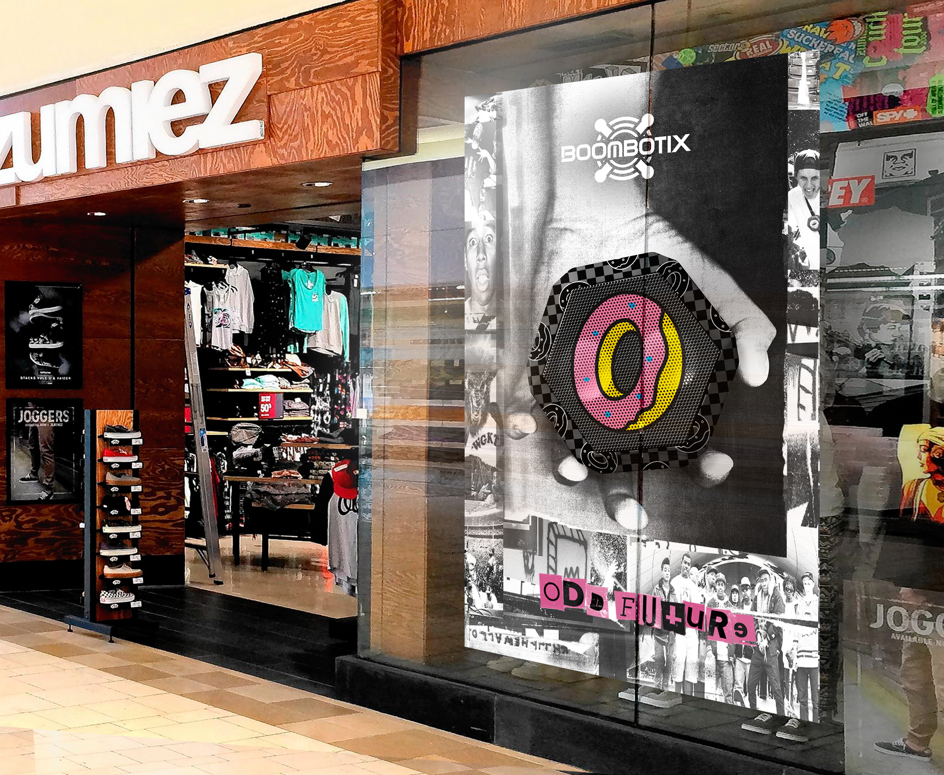 Boombotix oddfuture speaker collaboration advertisement with donut and checkerboard graphics on speaker imposed in a black and white grainy hand displayed in zoomies store