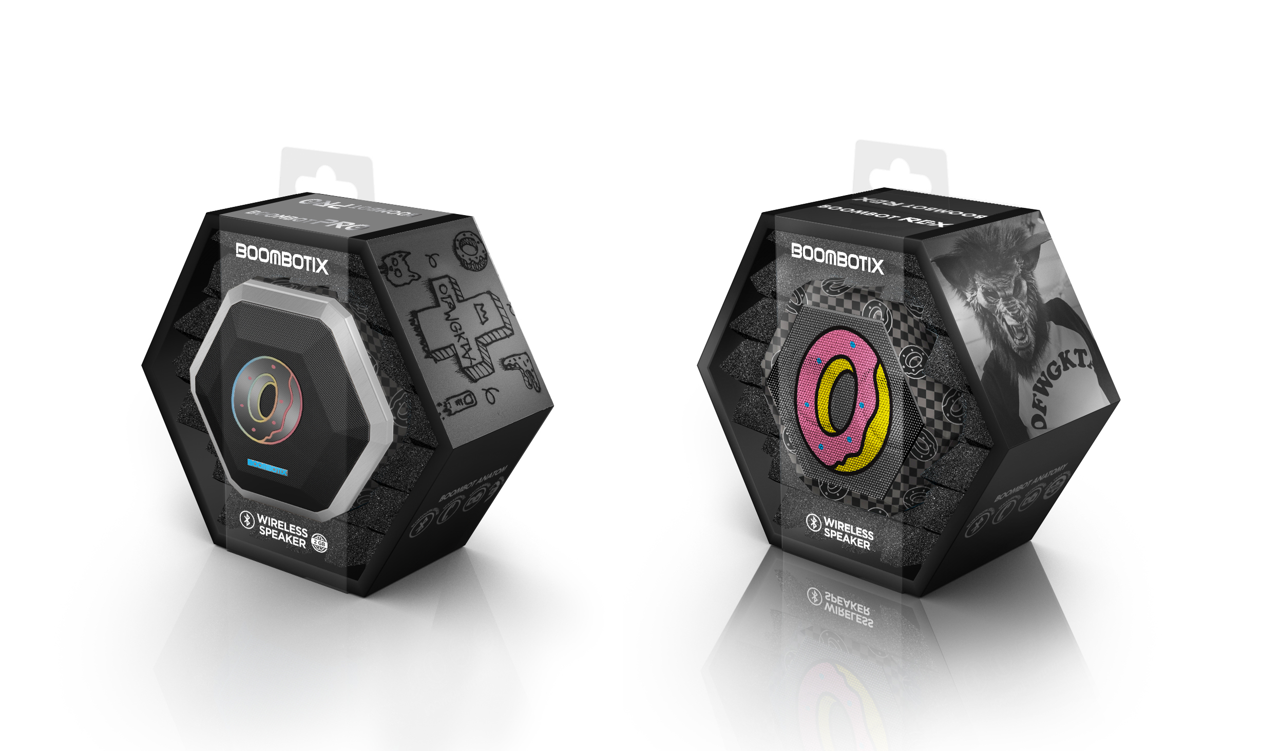 Packaging for odd future boombotix speaker with odd future imagery, donut graphics, and graffiti