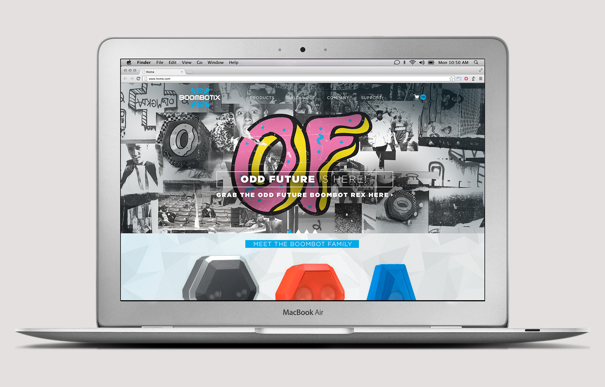 Odd future and boombotix speaker landing page for website