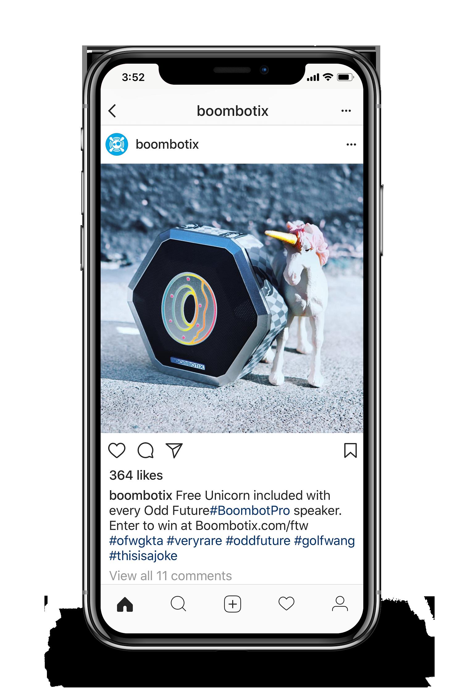 Odd future and boombotix speaker instagram advertisements displayed on smartphone