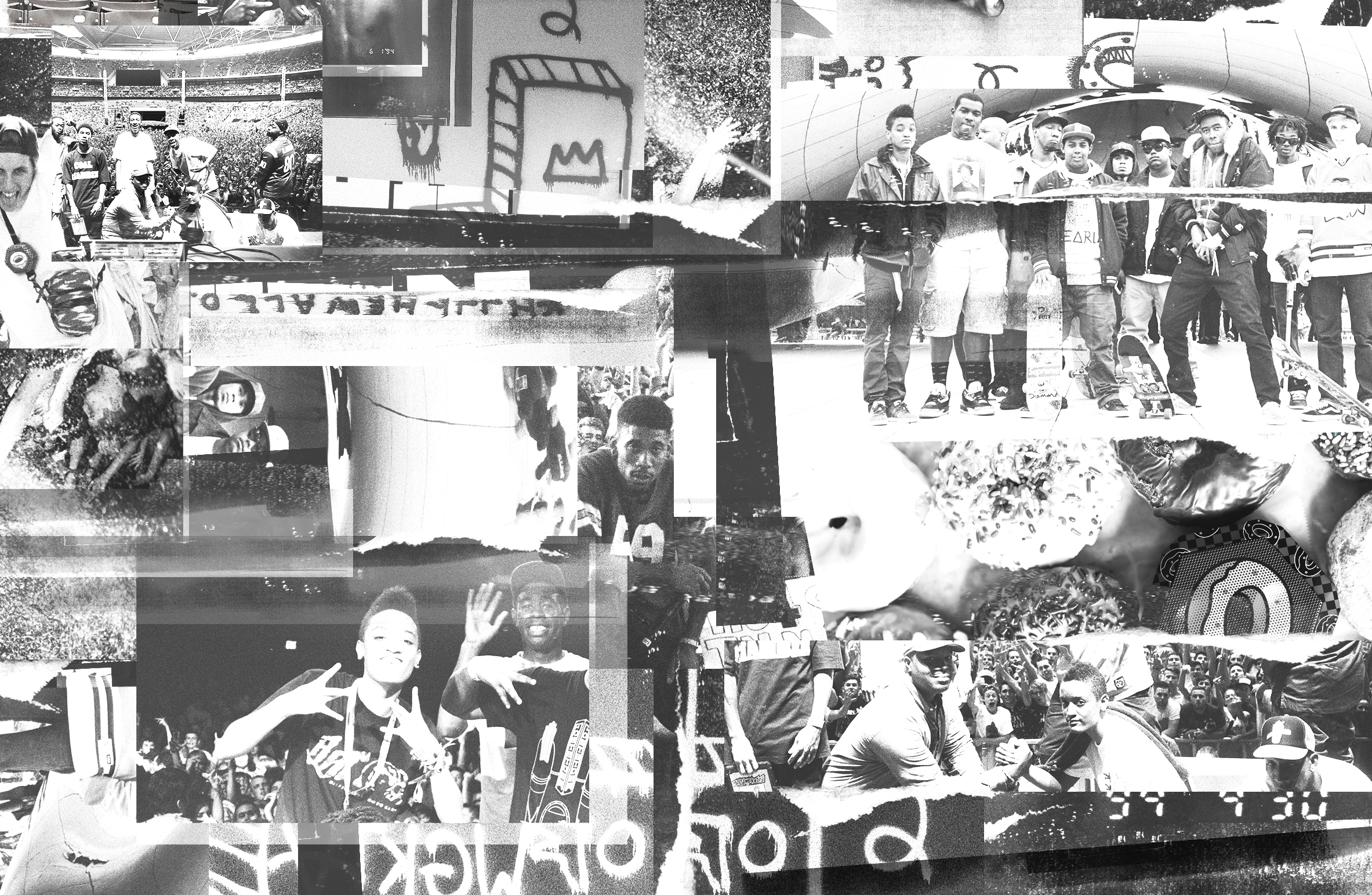 Collage of black and white and grainy images of odd future boombtix speakers, illustrations, and group members