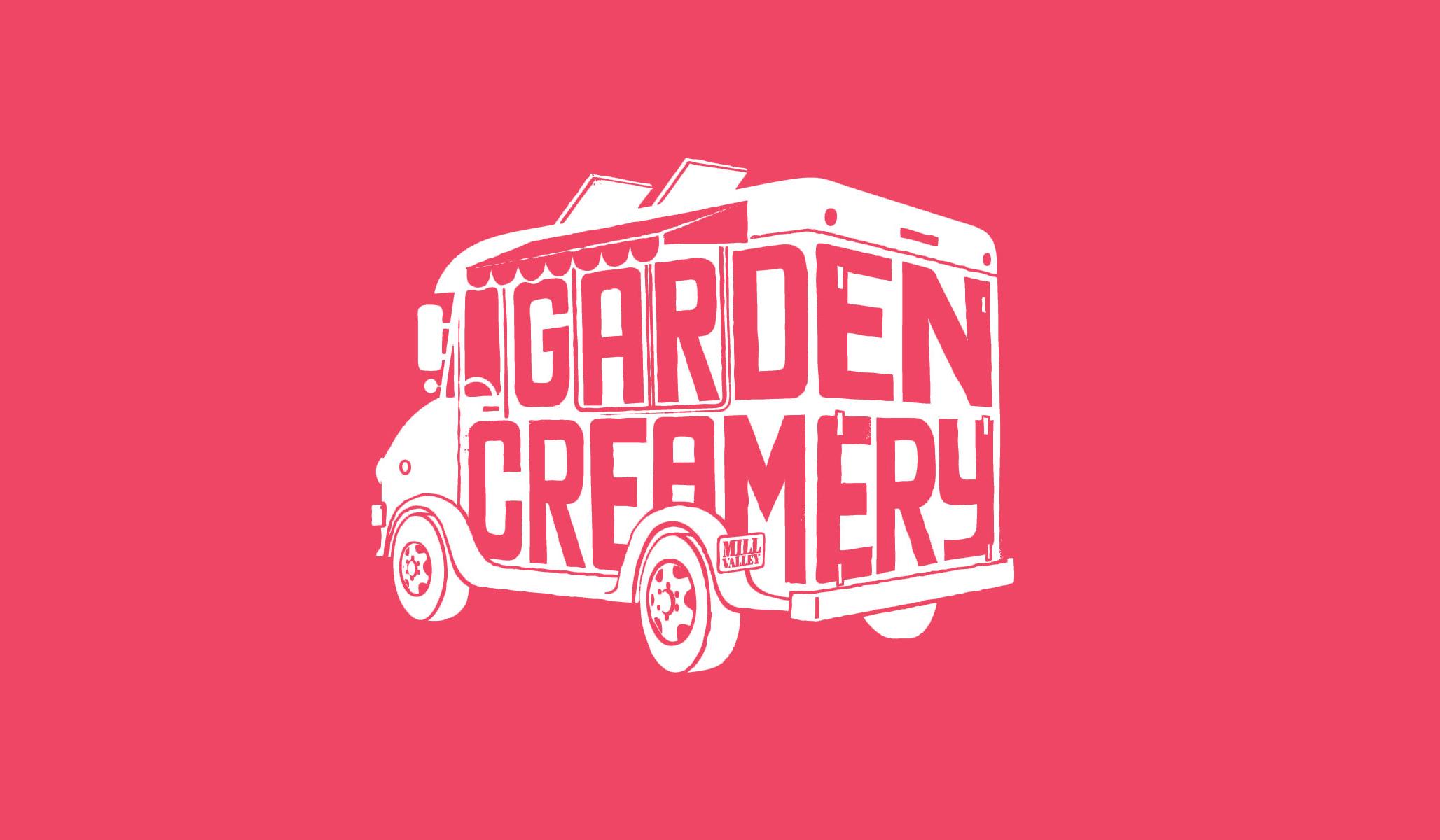 Garden creamery ice cream truck logo displayed in white and pink