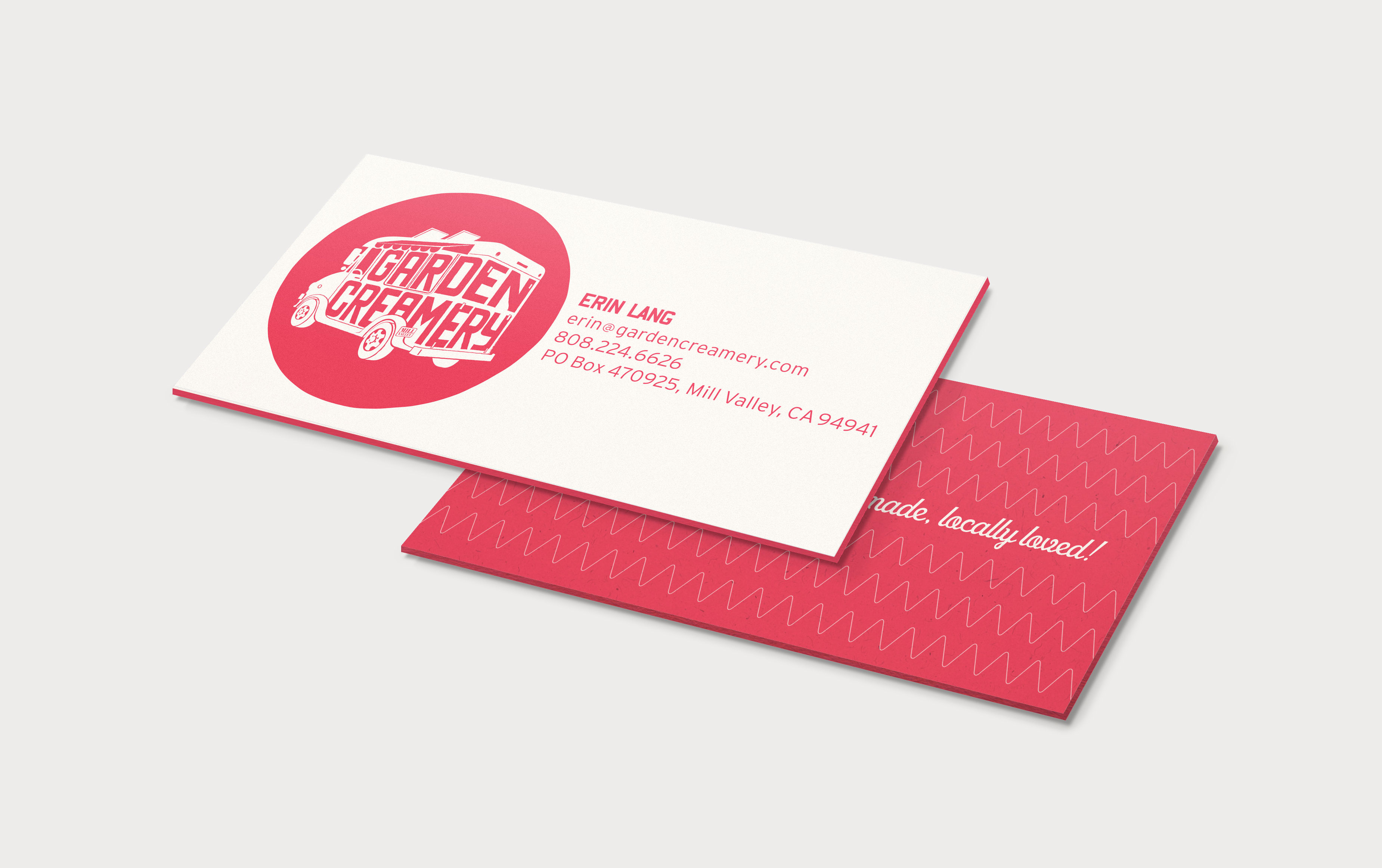 Garden creamery business card displaying front and back