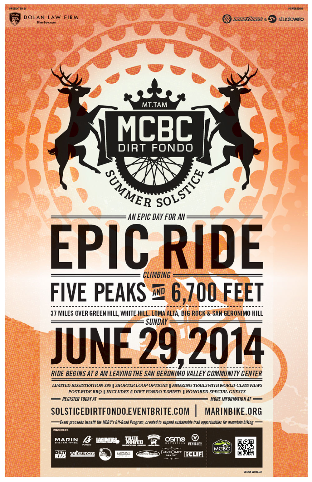 Dirt Fondo 2014 poster announcing date and event with gradient graphic designs and deer illustrations