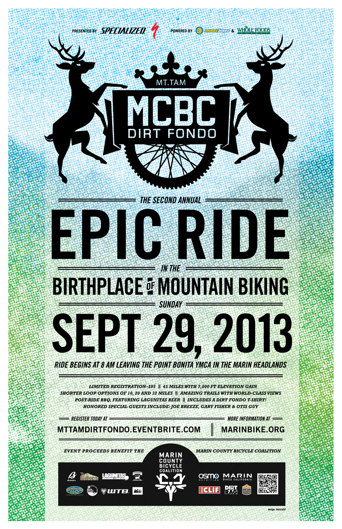 Dirt Fondo 2013 poster announcing date and event with gradient graphic designs and deer illustrations