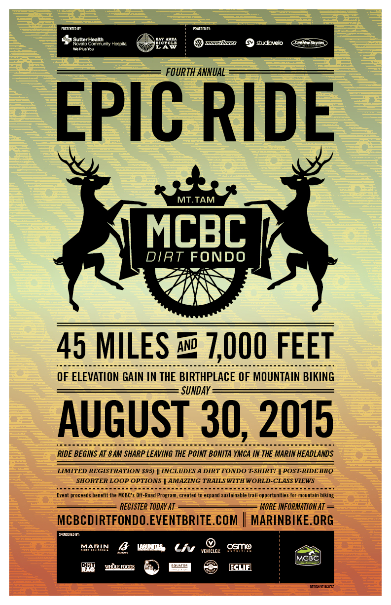 Dirt Fondo 2015 poster announcing date and event with gradient graphic designs and deer illustrations