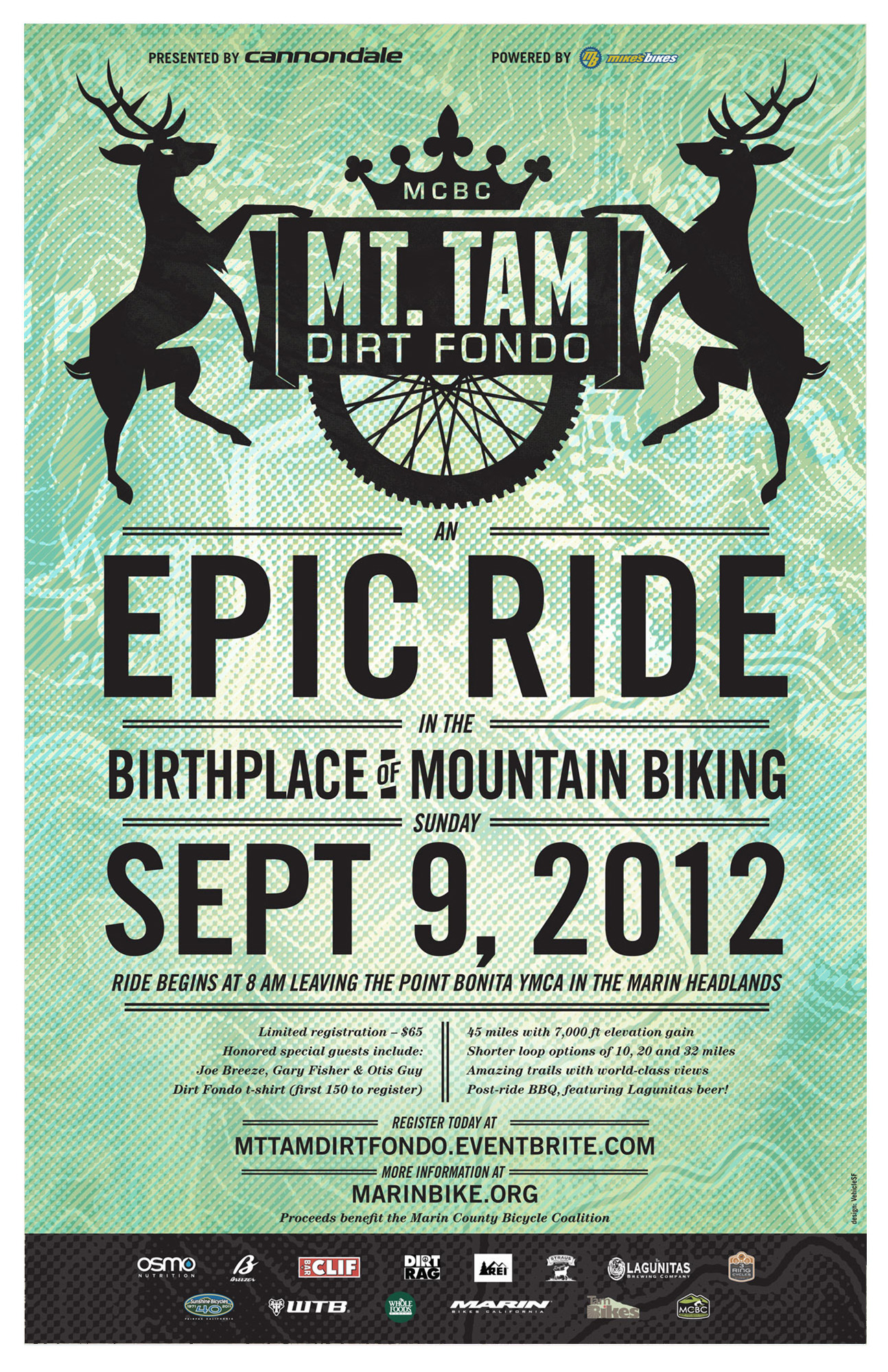 Dirt Fondo 2012 poster announcing date and event with gradient graphic designs and deer illustrations