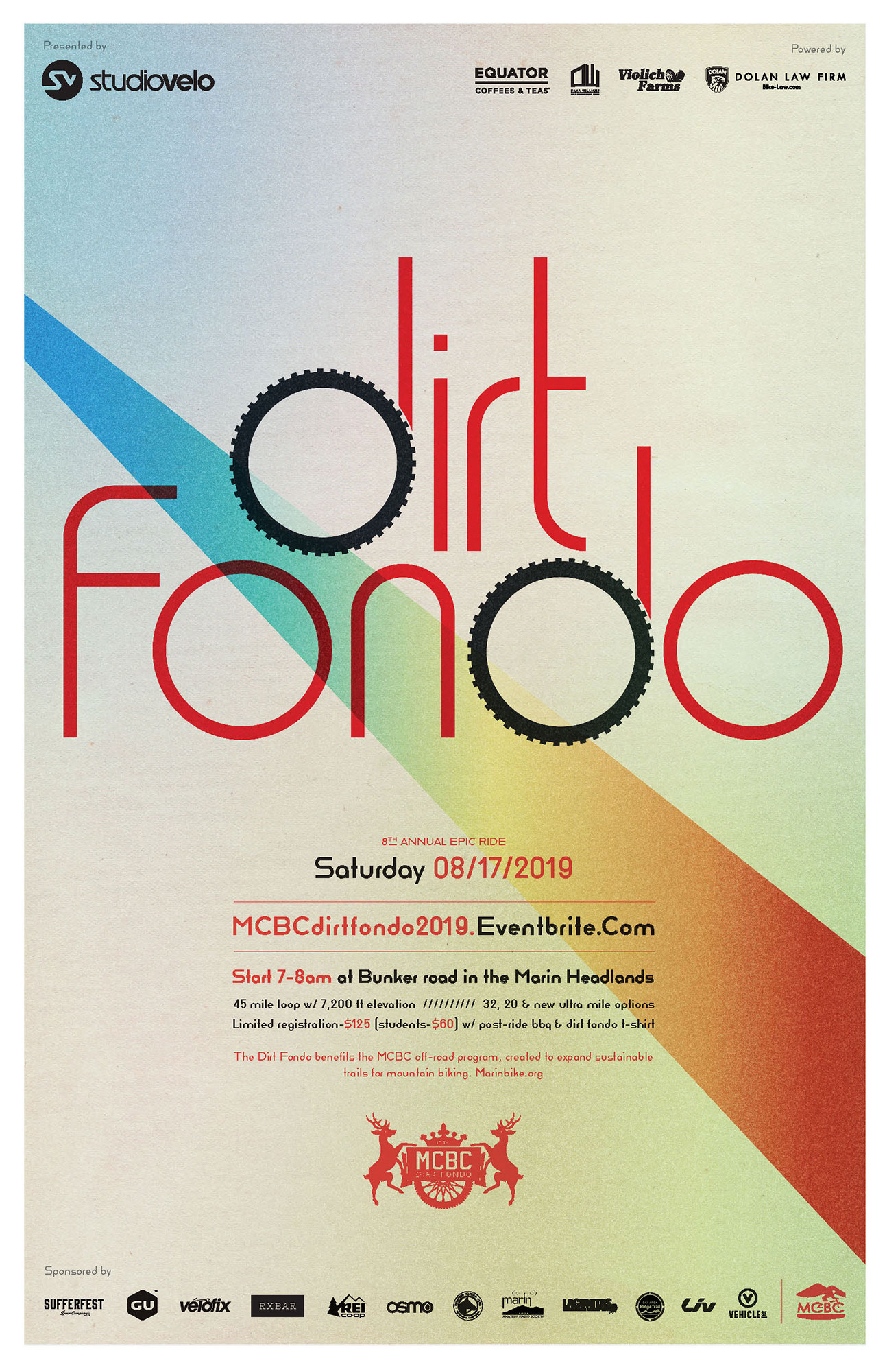 Dirt Fondo poster with logo and gradient line background