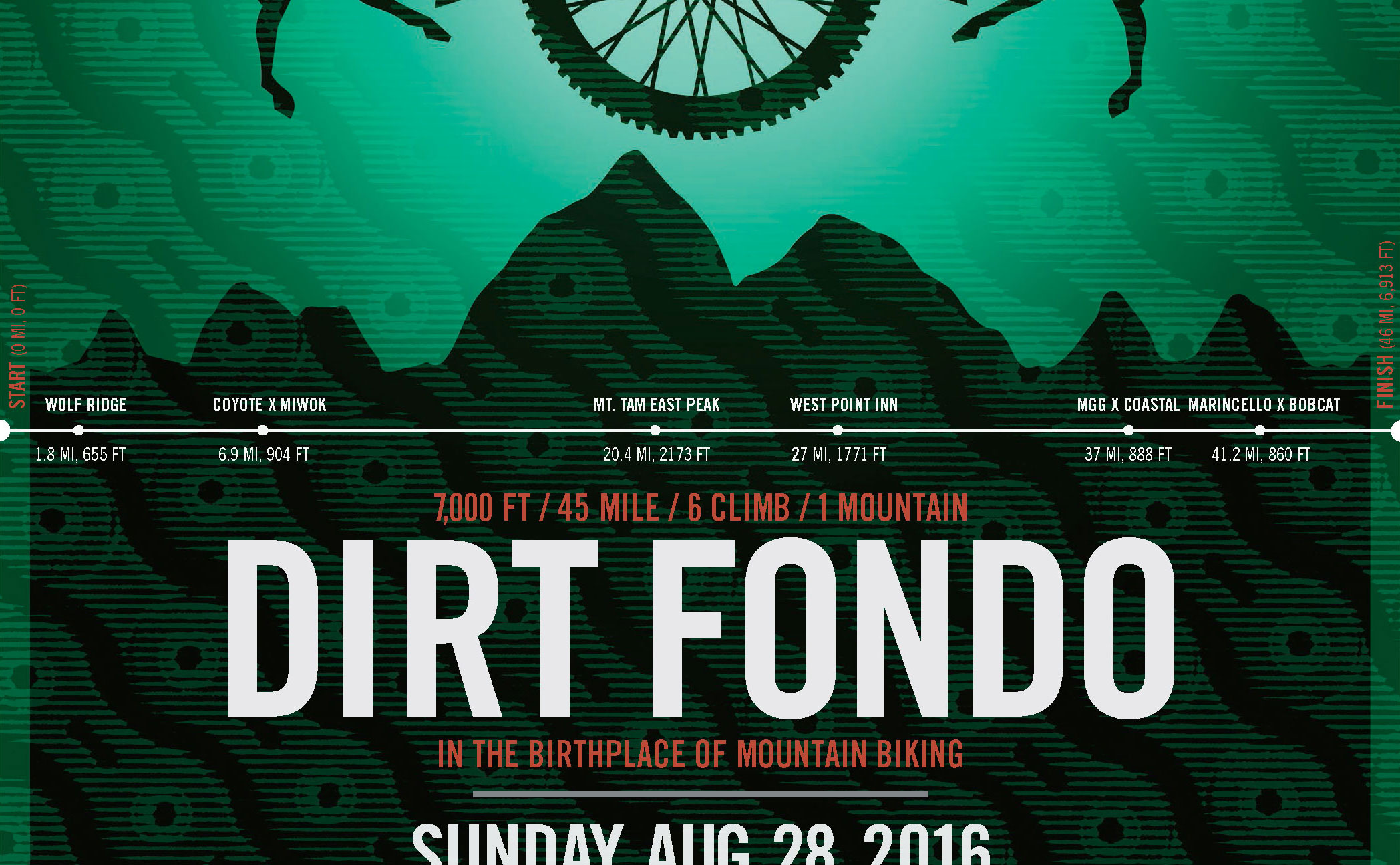 Dirt Fondo 2016 poster announcing date and event with gradient graphic designs and deer illustrations