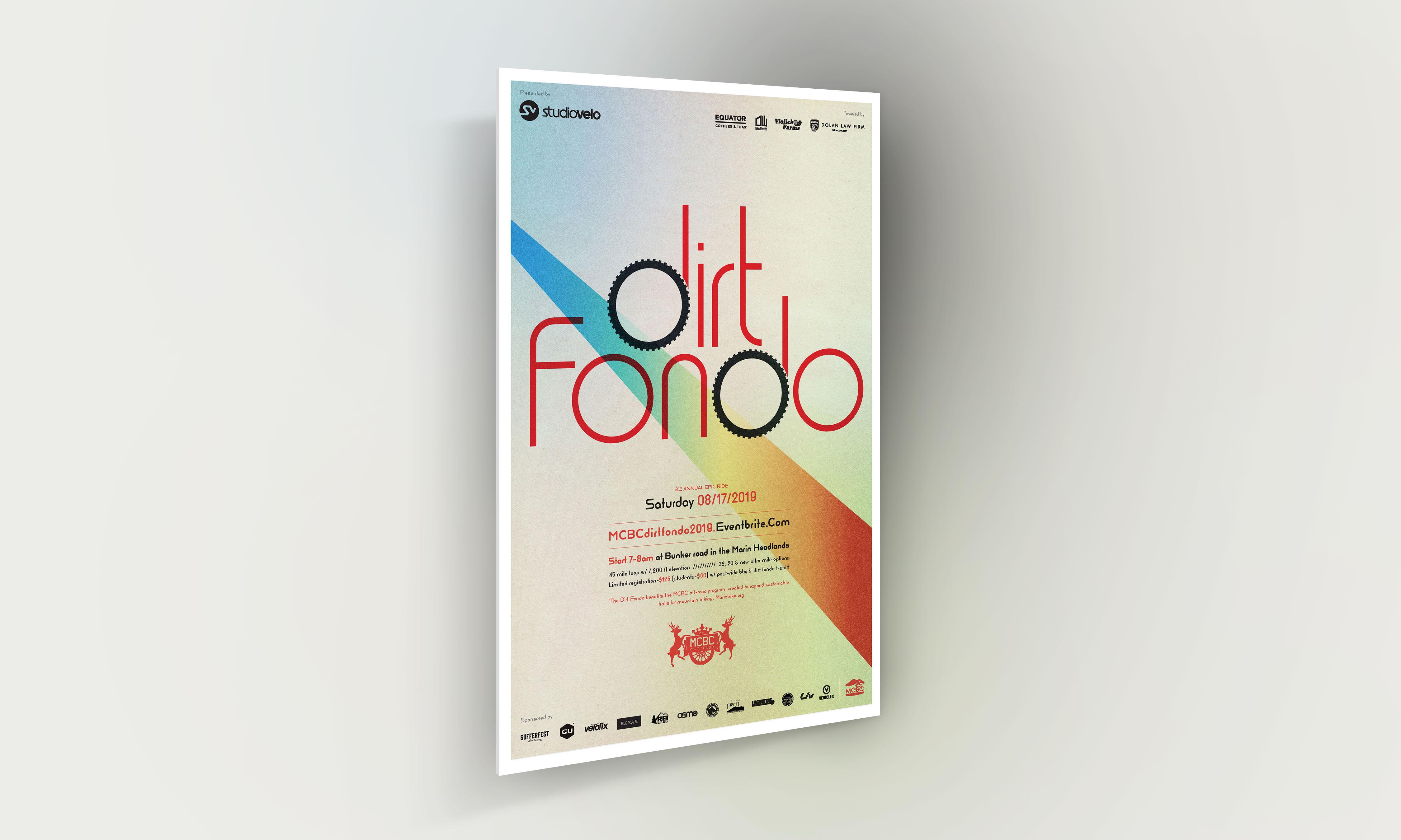 Dirt Fondo poster with dirt fondo logo and grainy gradient background design digital render