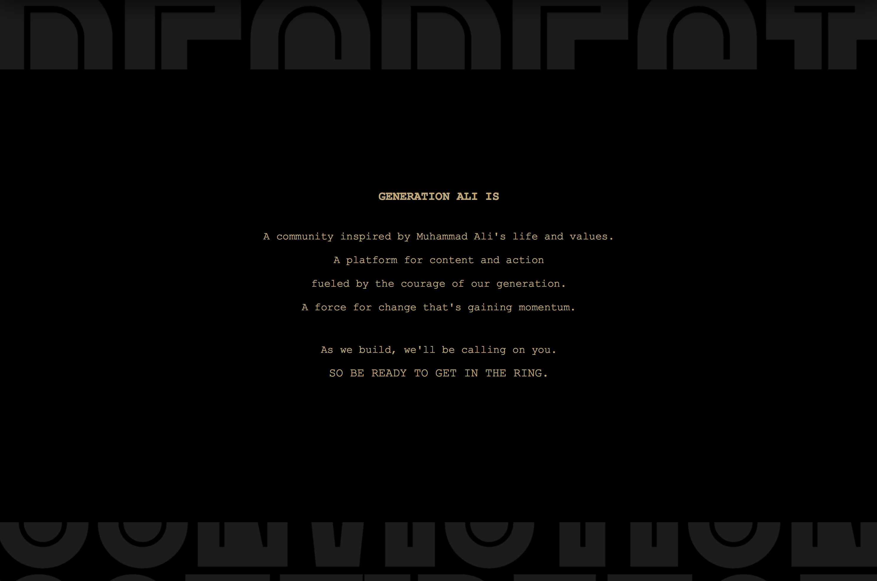 An off white text treatment on black background explaining what GenAli is