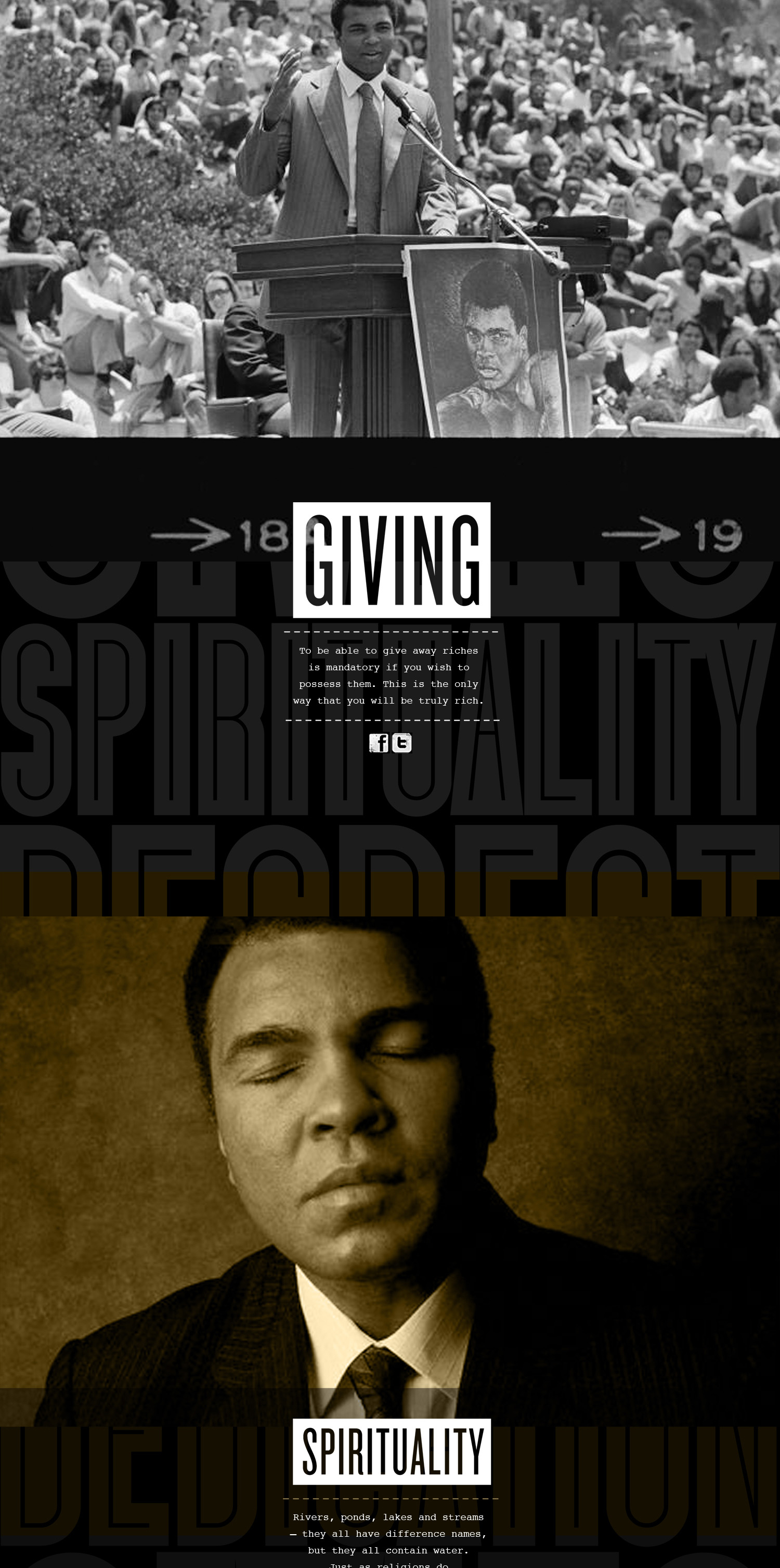 Muhammed Ali images and quote related to giving