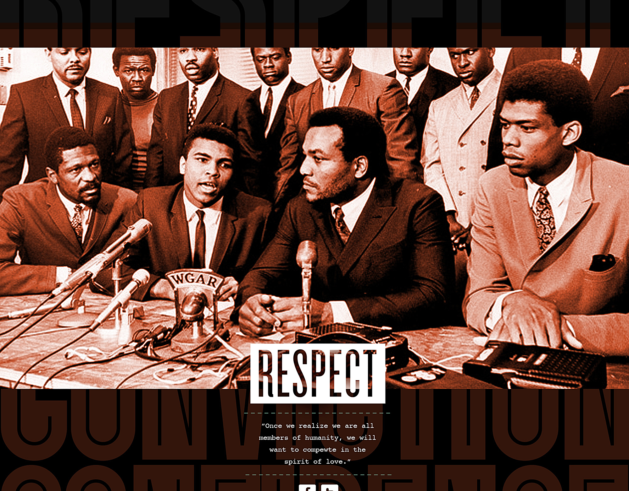 Muhammad Ali at press conference with quote about respect