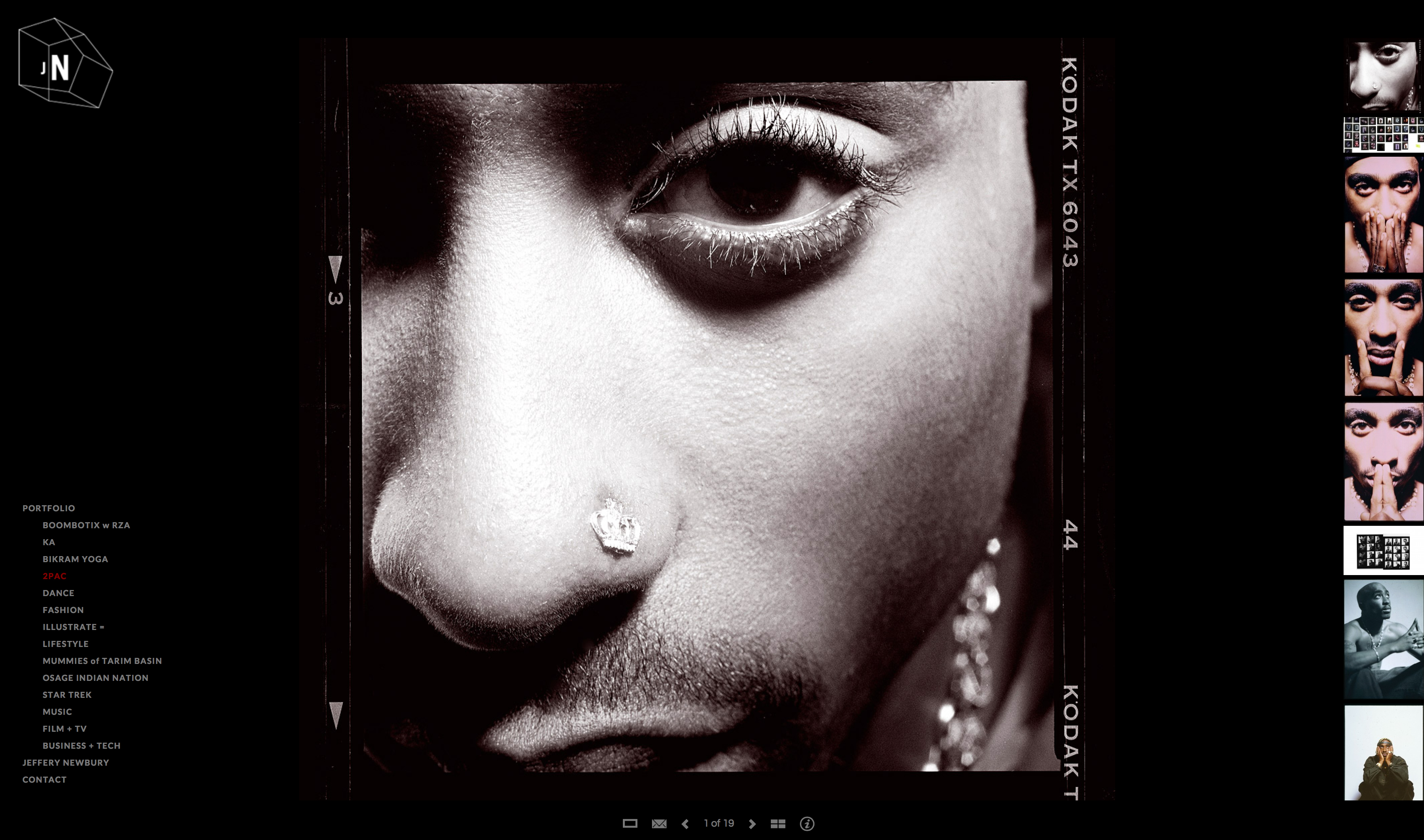 Dramatic portraits of Tupac Shakur very close to his face