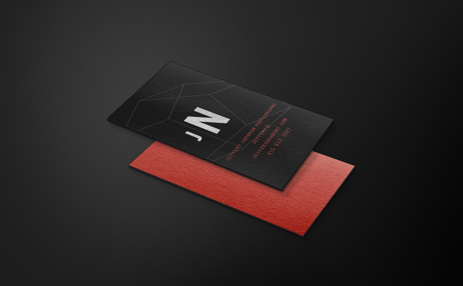 Jeffery Newbury font and back of business cards