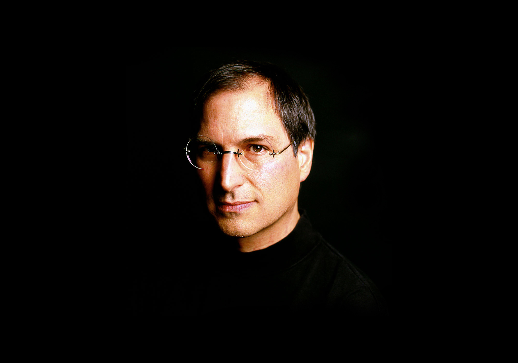 Portrait of Steve Jobs with dramatic lighting