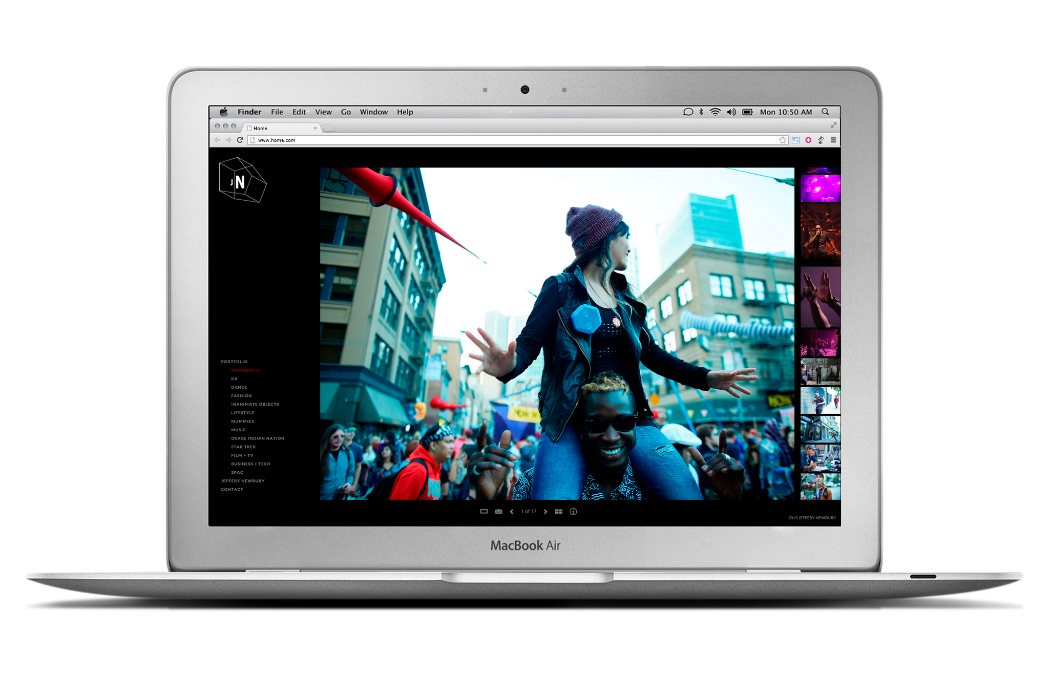 Landing page for Jeffery Newbury Photography website displayed on laptop