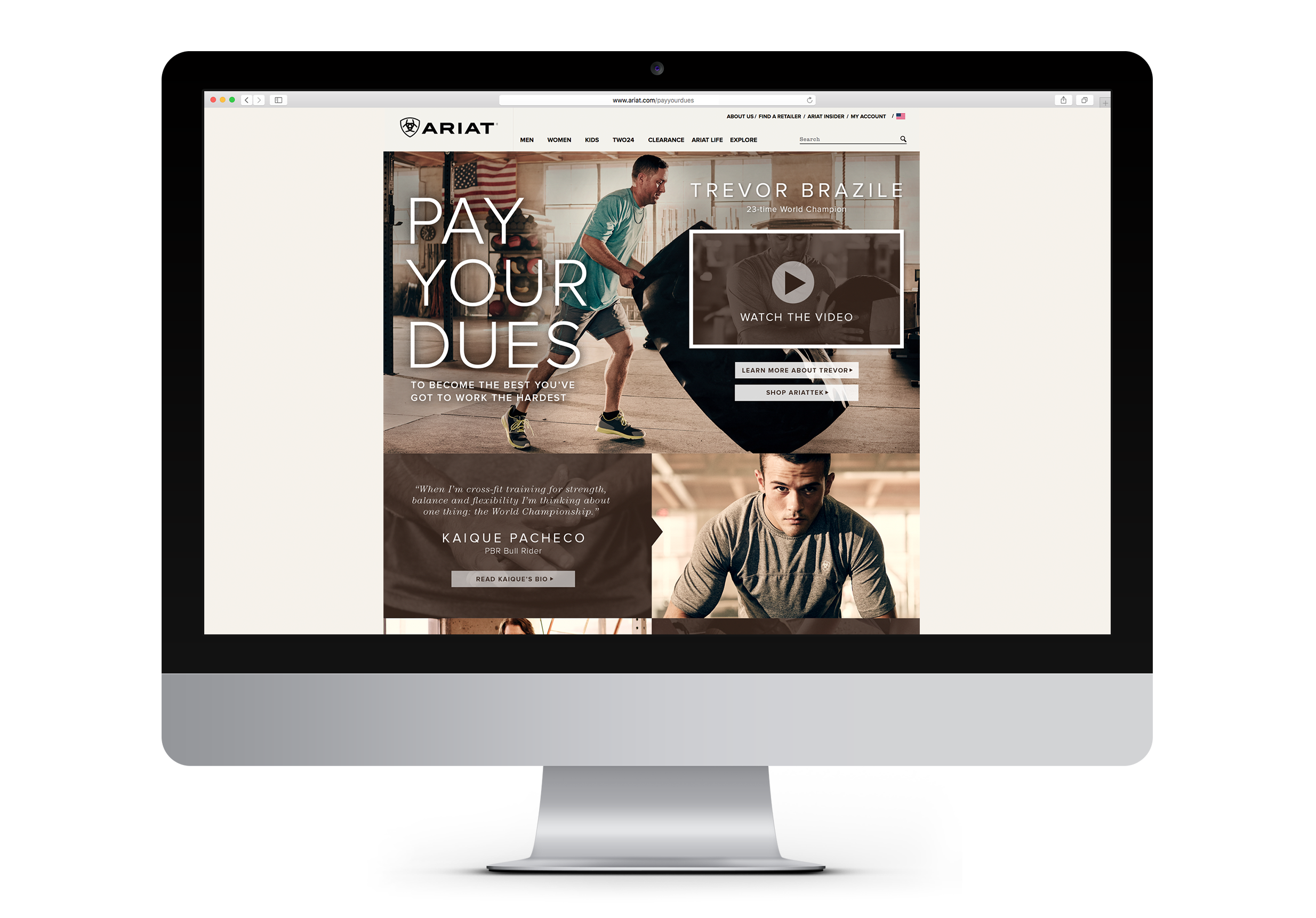 Ariat pay your dues workout clothing website landing page displayed on desktop computer