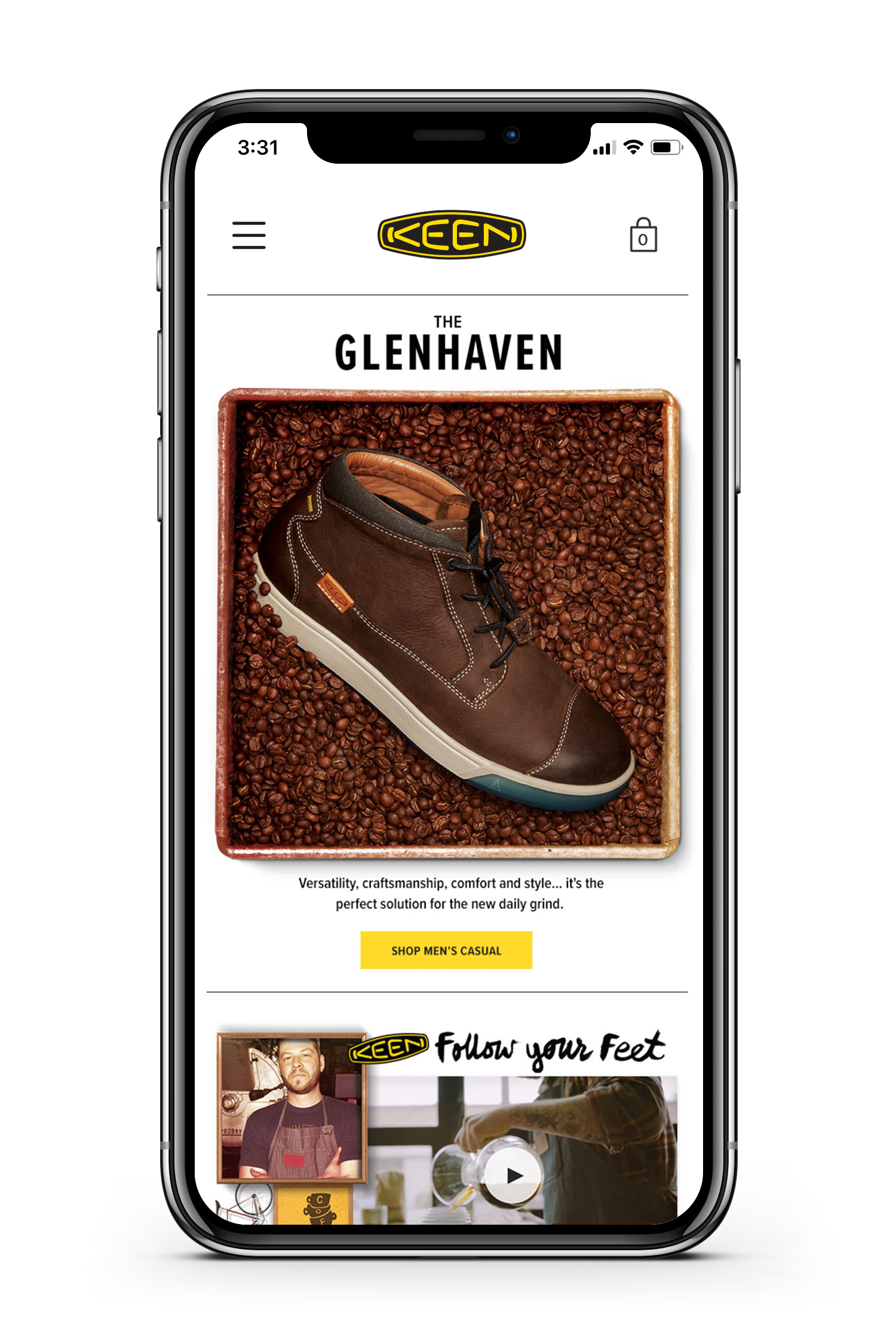 Keen website product display page shown on smartphone