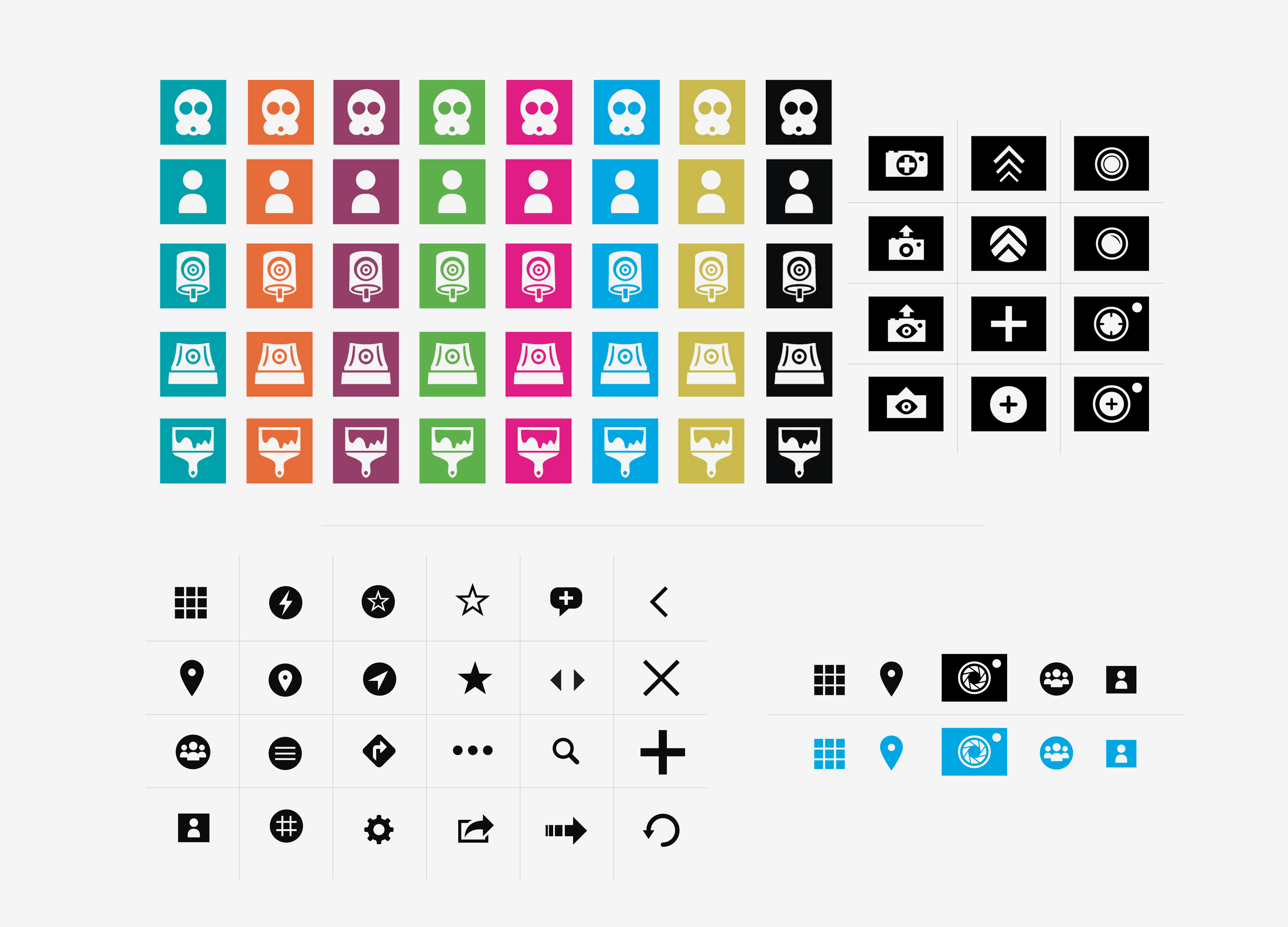 1:AM application icons designed in various colors