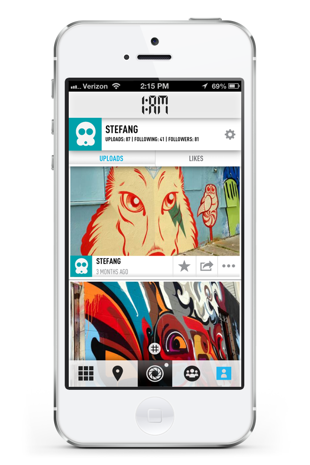 1:AM application profile page displayed on smartphone