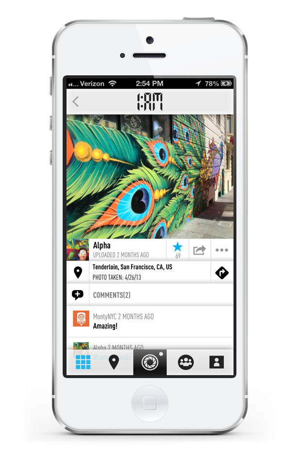 1:AM camera page with comments and likes displayed on mobile application