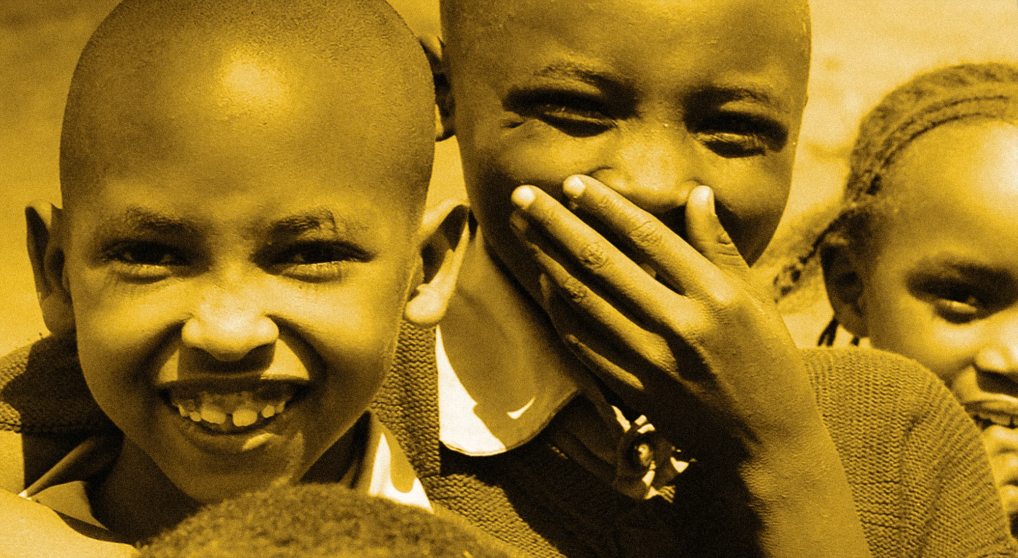 Portrait of children smiling with duotone yellow and black effect