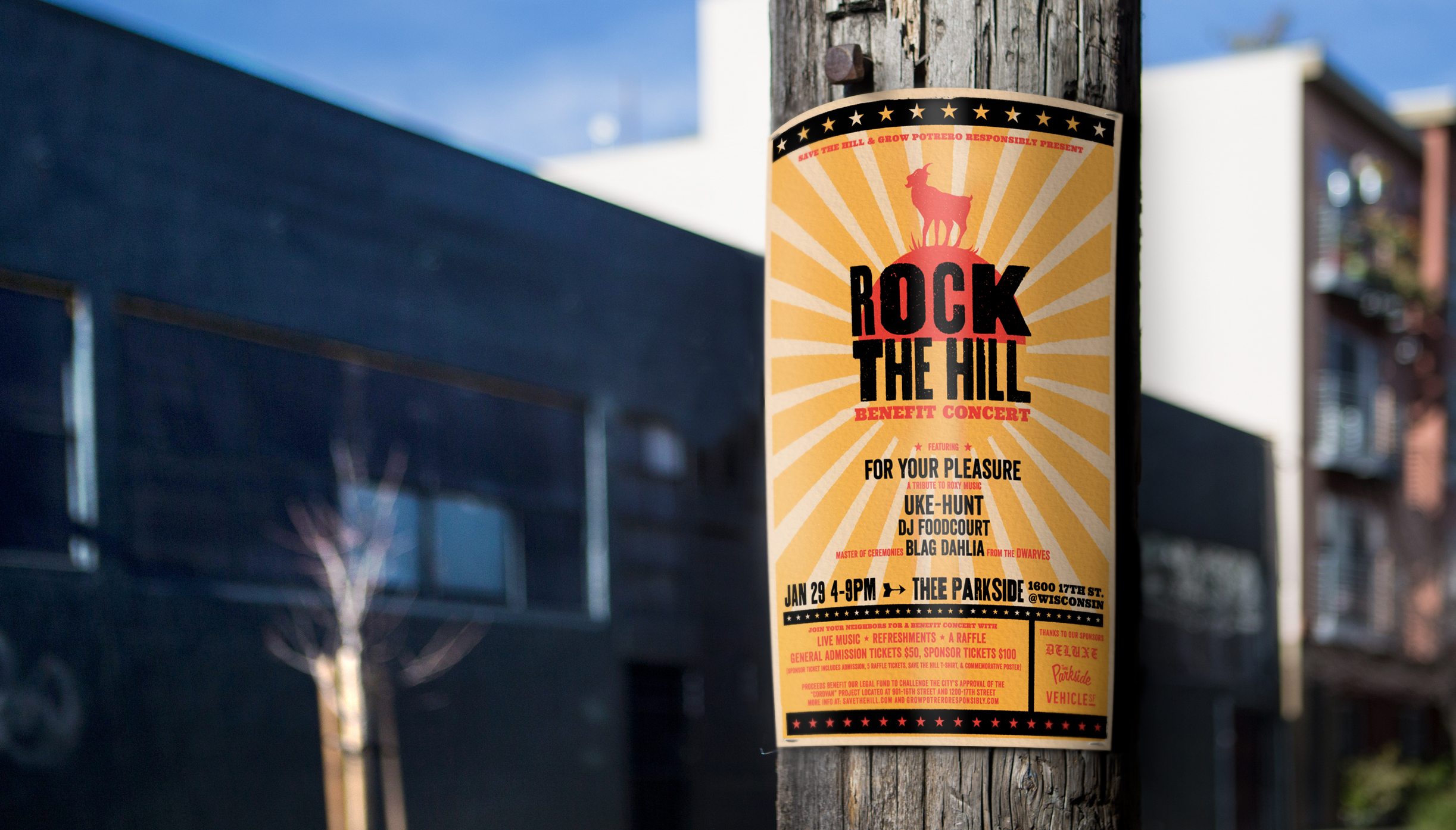 Rock the hill benefit concert poster stabled to telephone poll