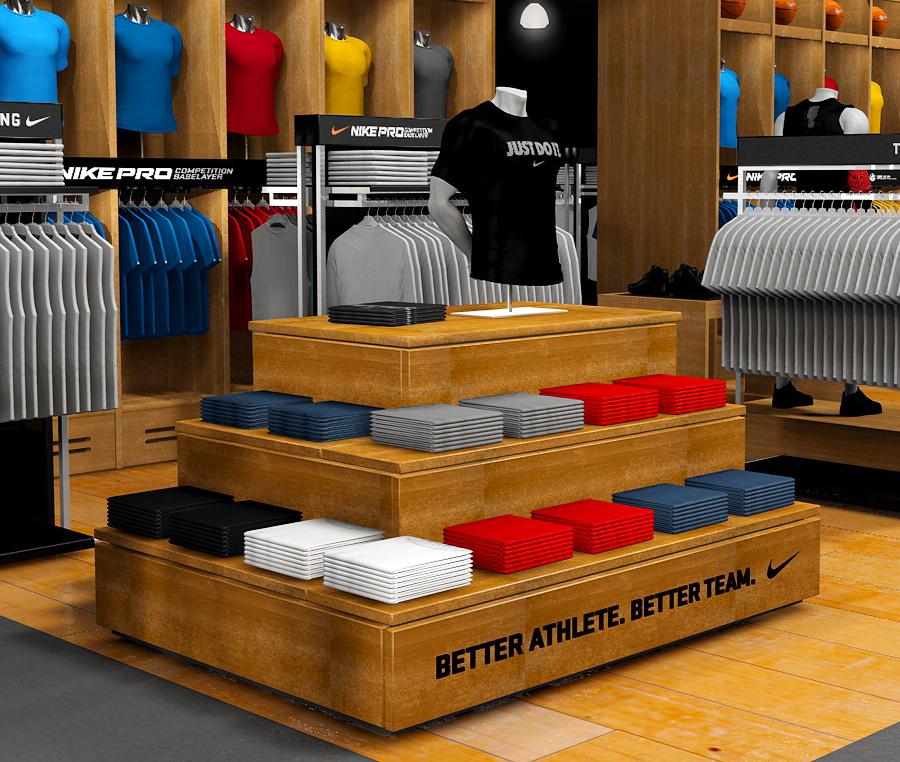 Digital render of Nike DSG store product display