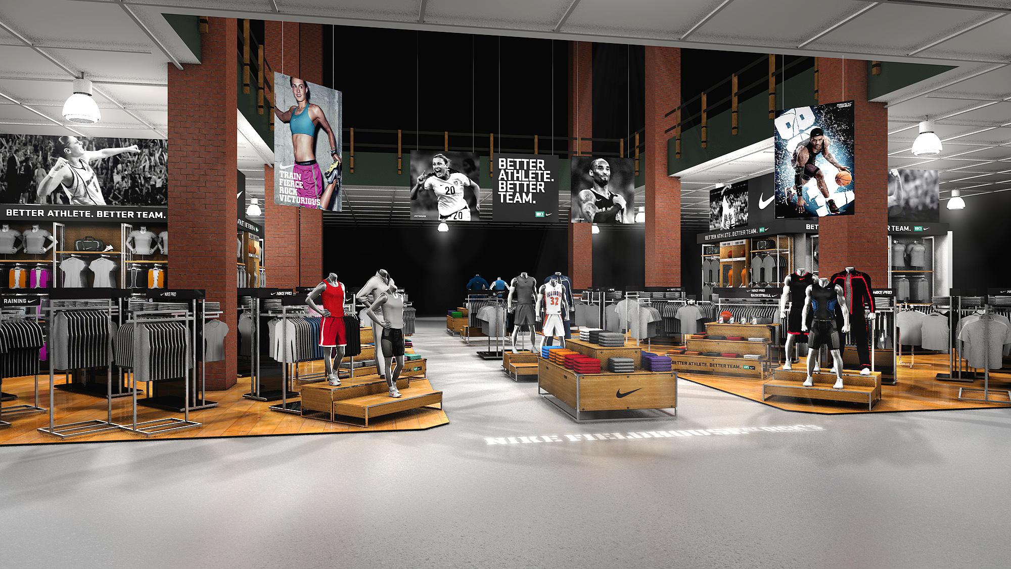 Digital render of Nike DSG store retail design display
