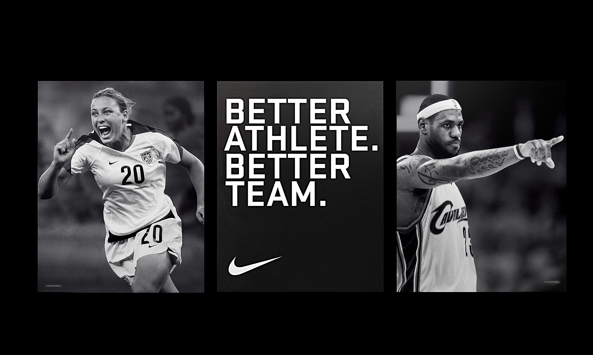 Black and white images of basketball and soccer places with all caps modern typography between them that says better athlete, better team