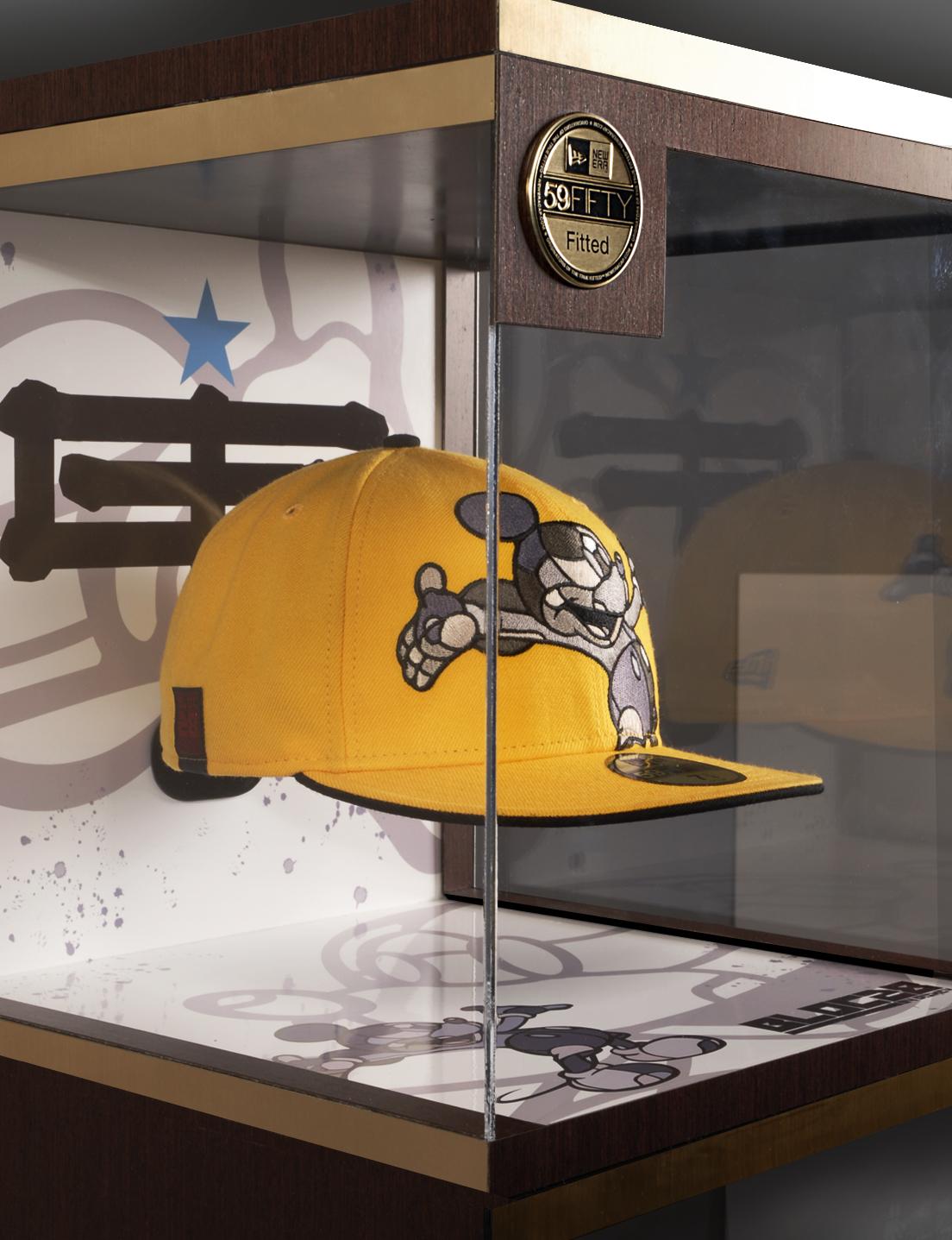 New balance hat with illustrations inside vitrine