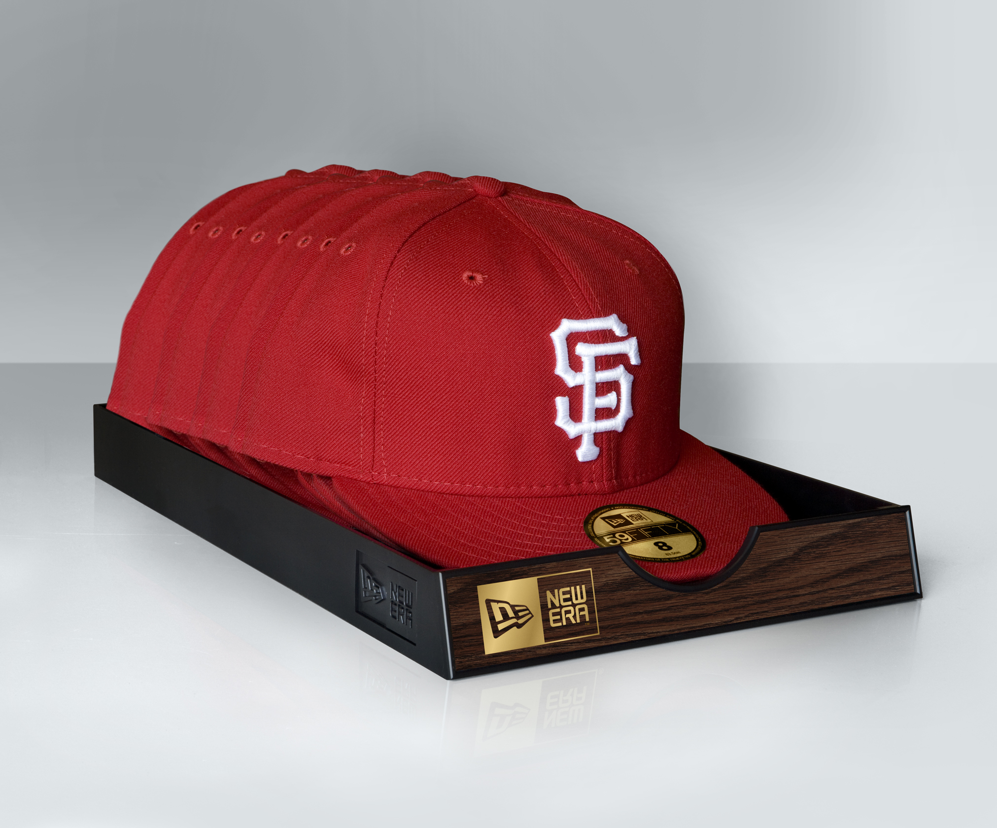 Product display of New Era SF red fitted hats