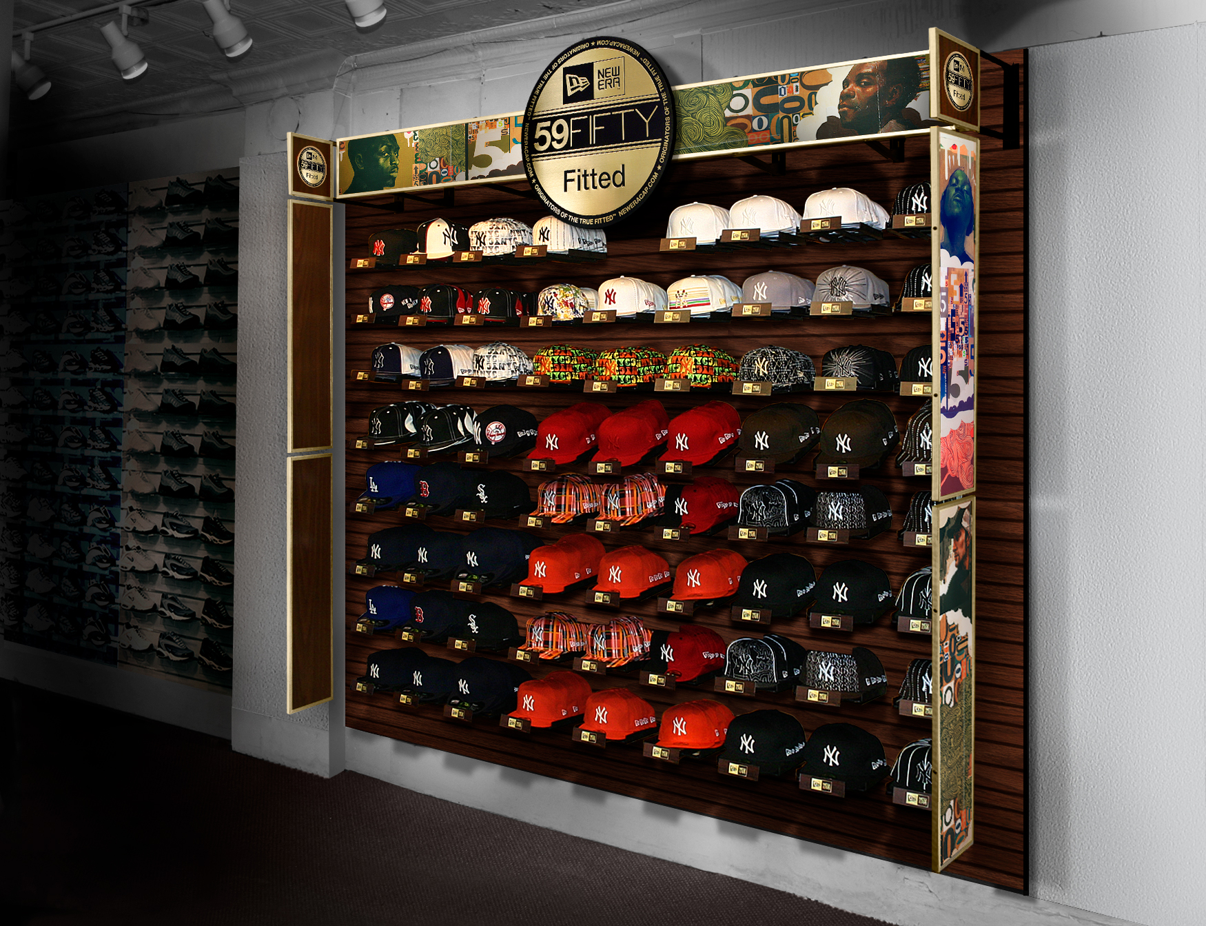 Digital render of retail product shelf in store contains new era fitted hats