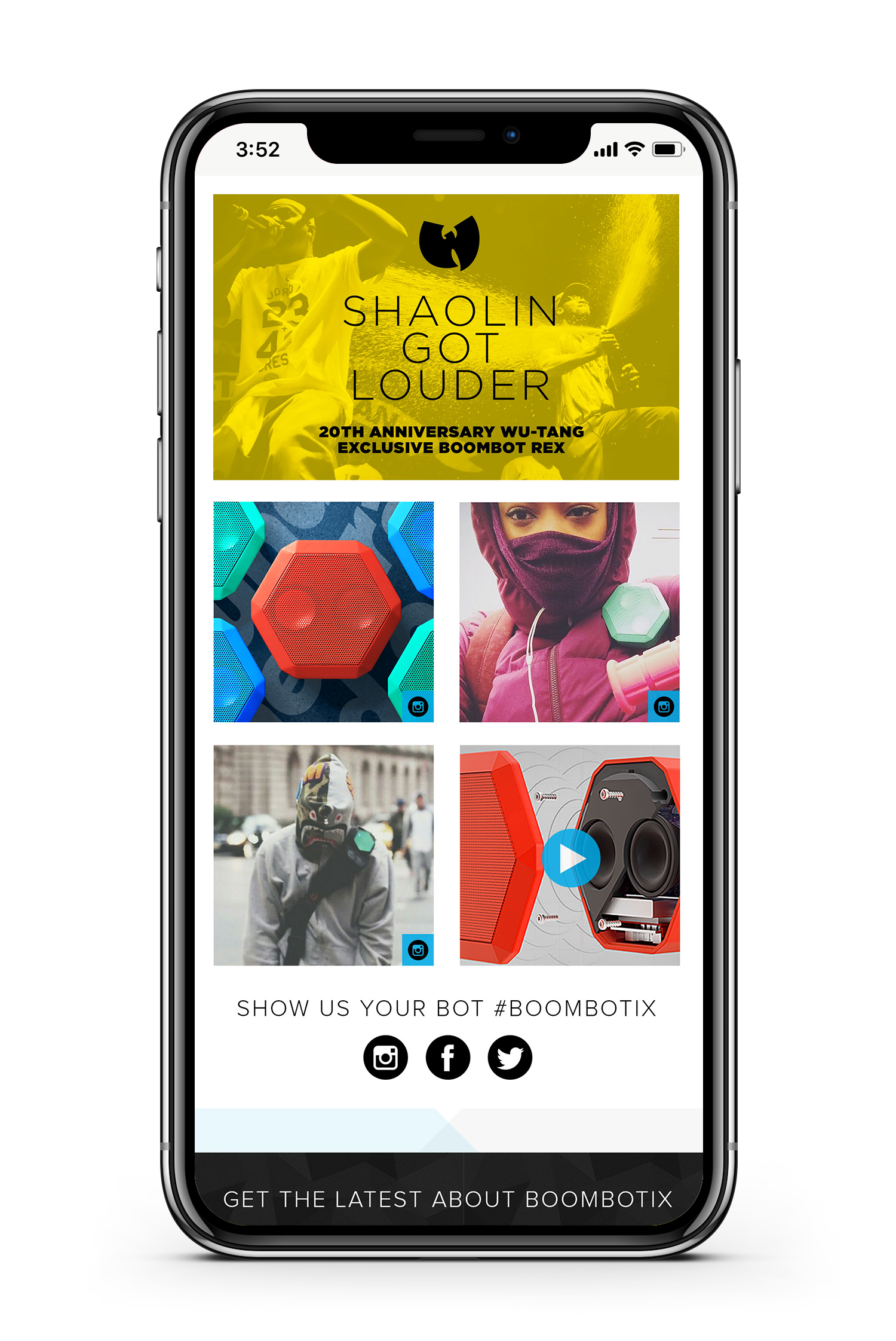 Boombotix speaker product page on website displayed on smartphone