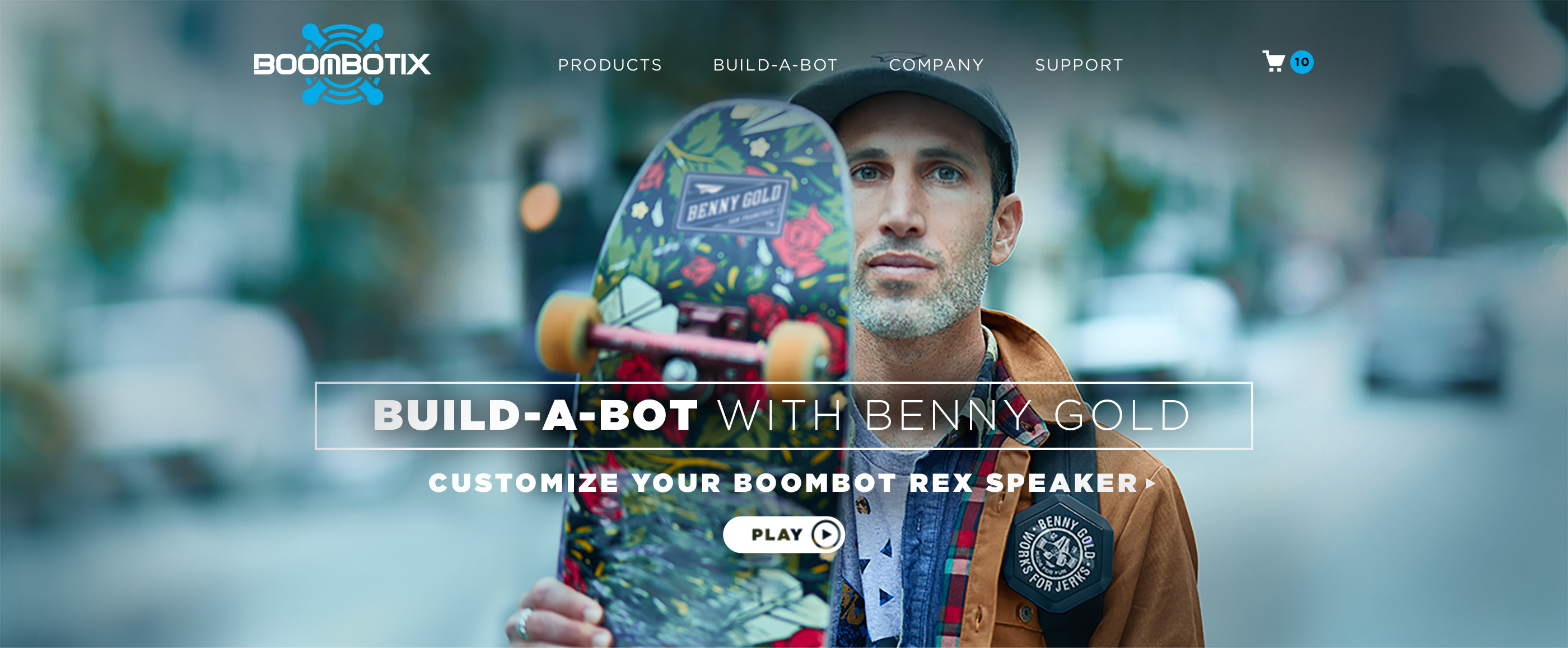 Boombotix website landing page with hero image of Benny Gold